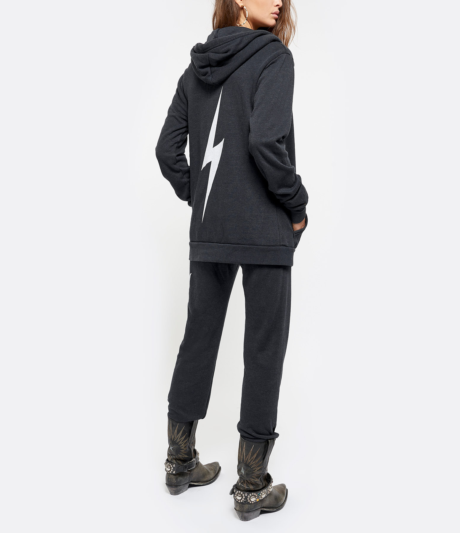 AVIATOR NATION - Sweatshirt Bolt Coton Charbon Blanc