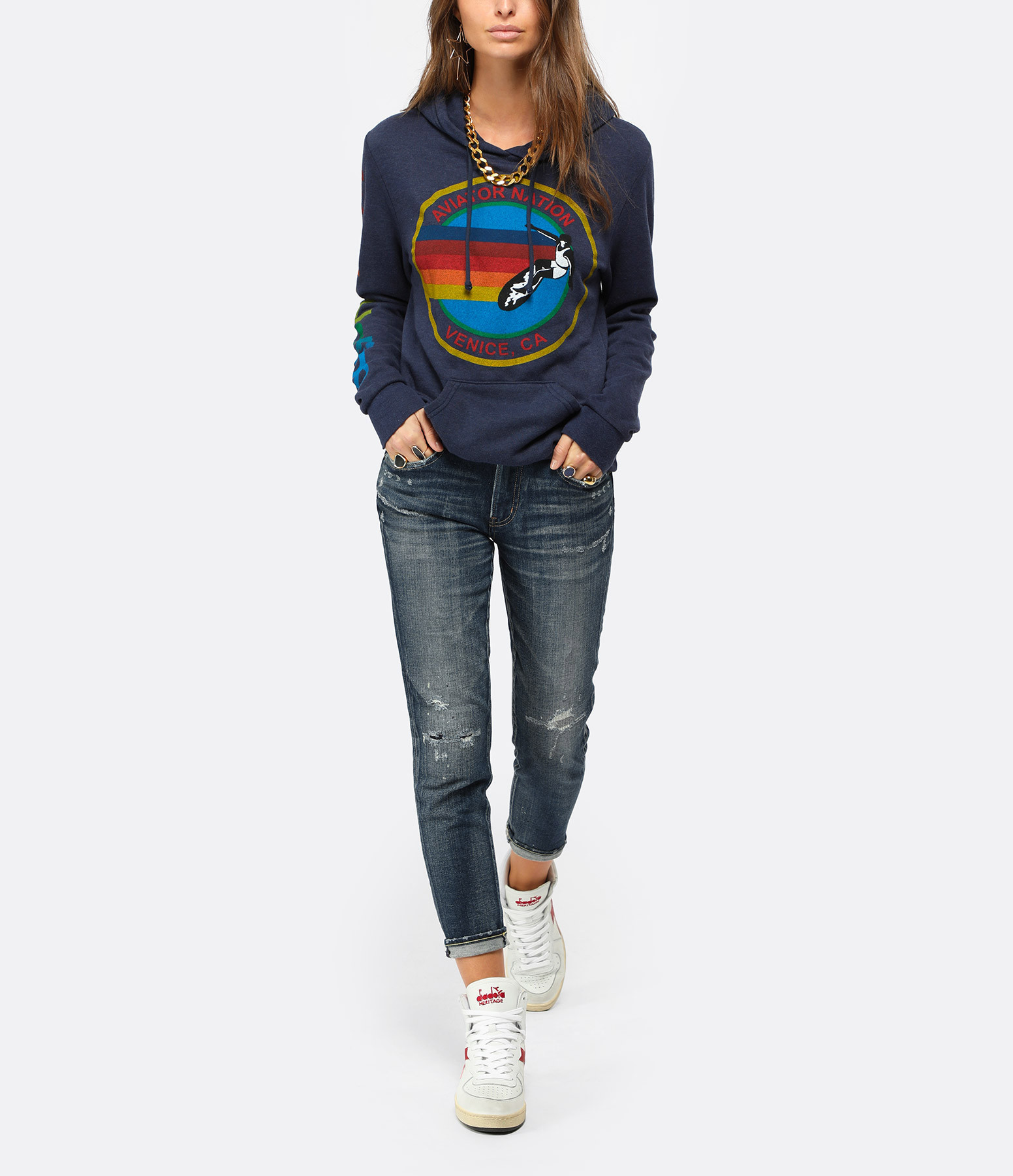 AVIATOR NATION - Sweatshirt Bolt Coton Navy