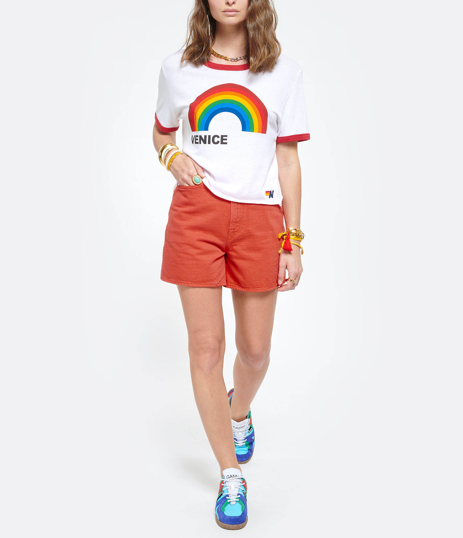 AVIATOR NATION - Tee-shirt Venice Blanc Rouge