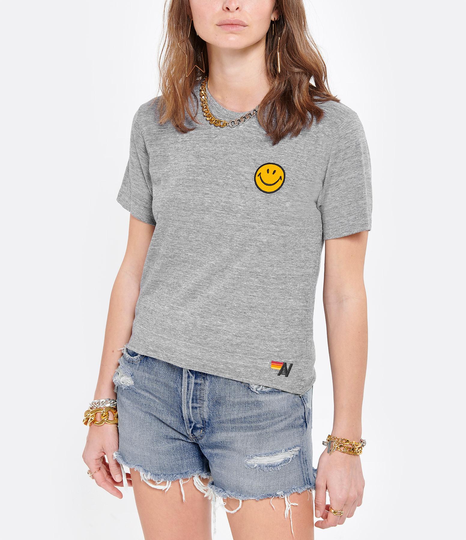 AVIATOR NATION - Tee-shirt Smiley Brodé Gris Chiné
