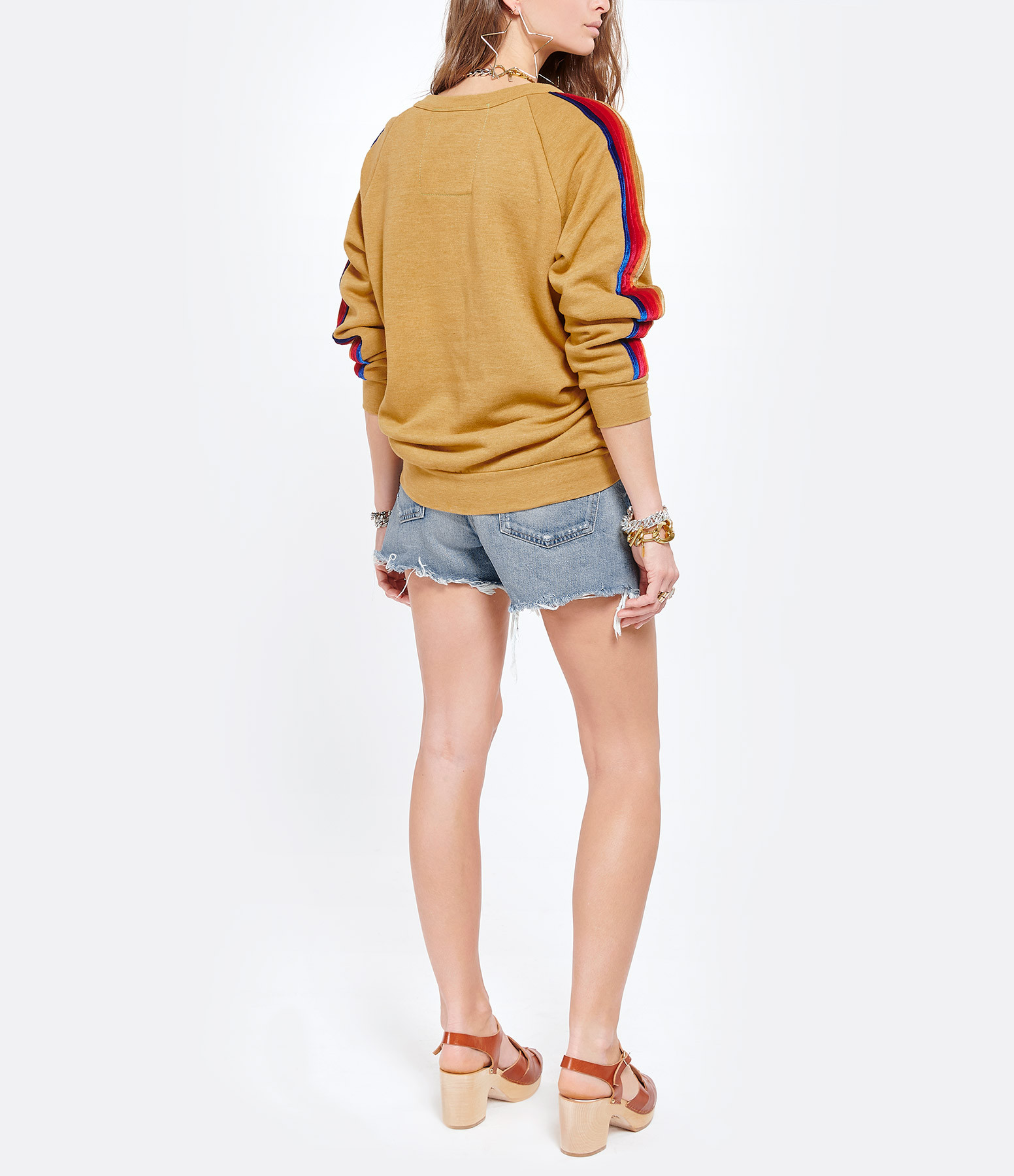 AVIATOR NATION - Sweatshirt Classic Rayures Velours Kaki