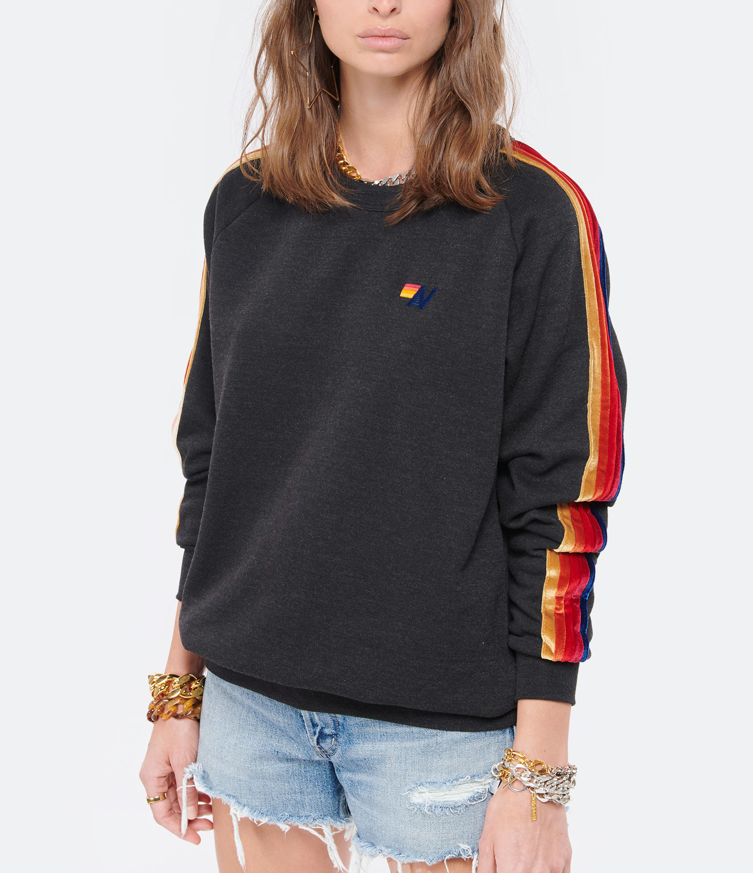 AVIATOR NATION - Sweatshirt Classic Rayures Noir