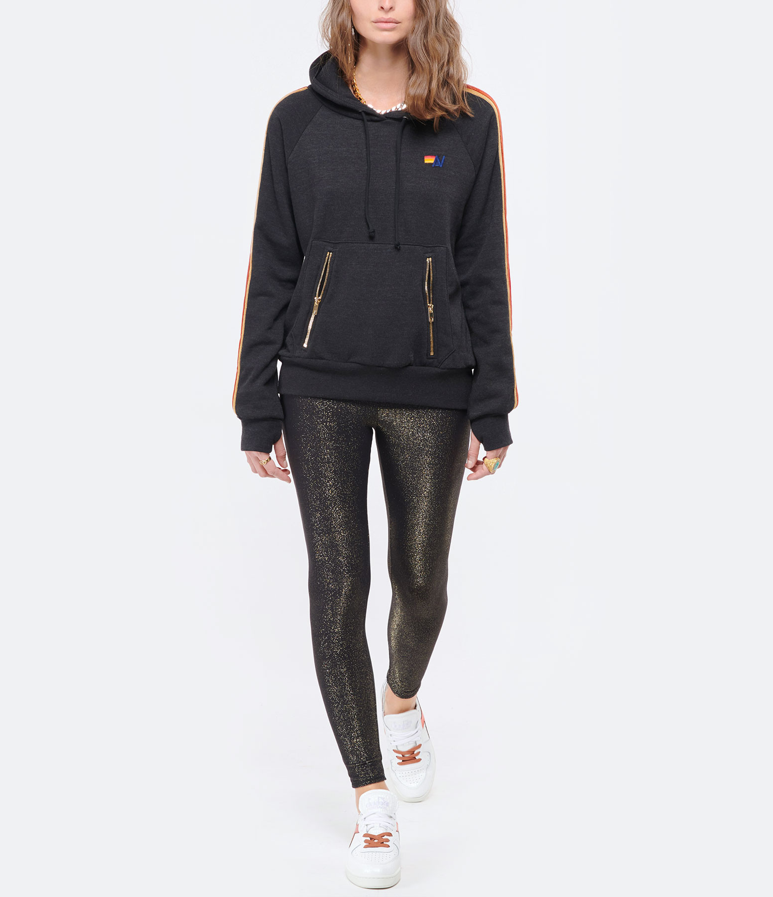 AVIATOR NATION - Sweatshirt Hoodie Classic Rayures Noir