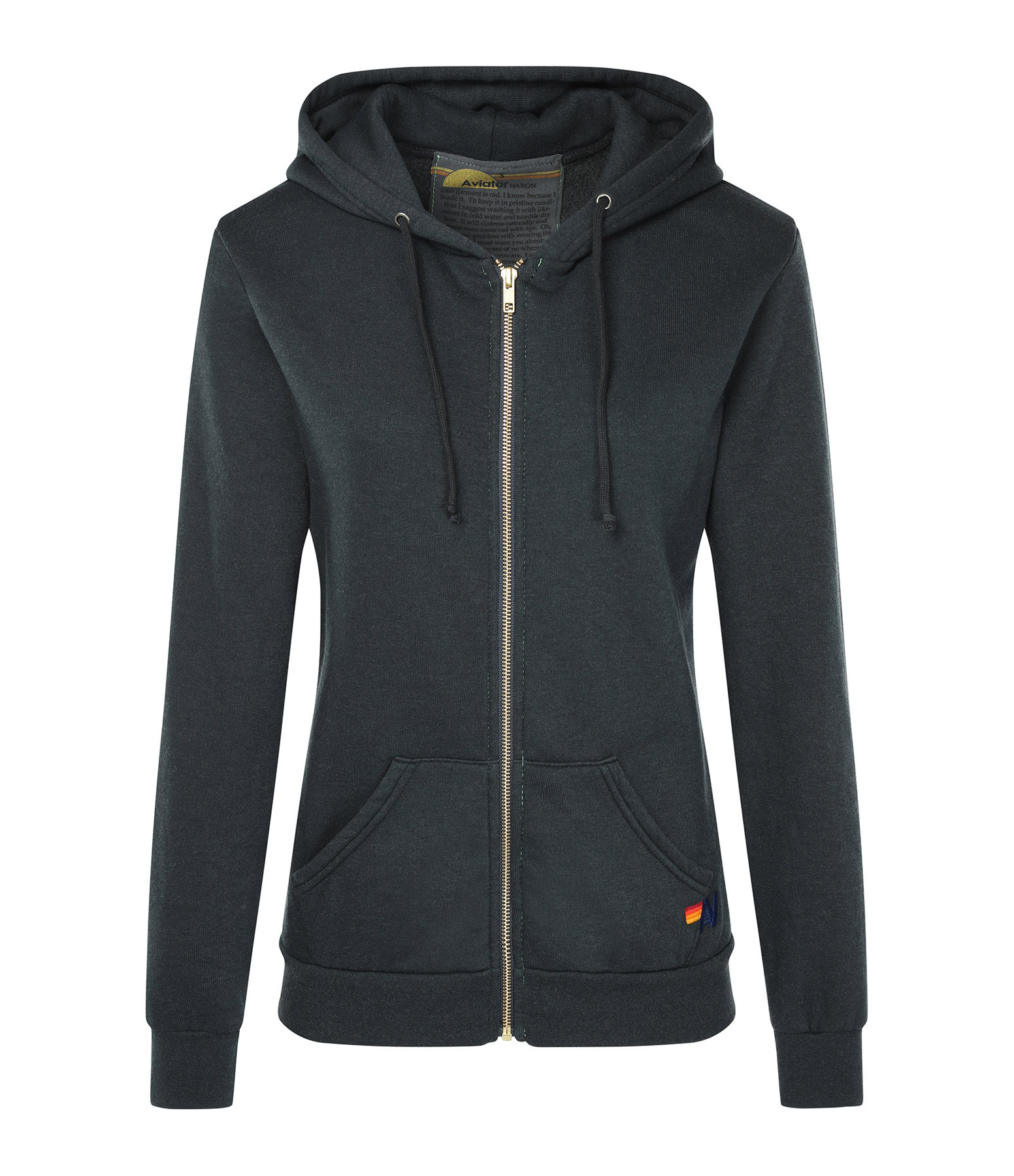 AVIATOR NATION - Sweatshirt Bolt Zip Métal Doré Charbon