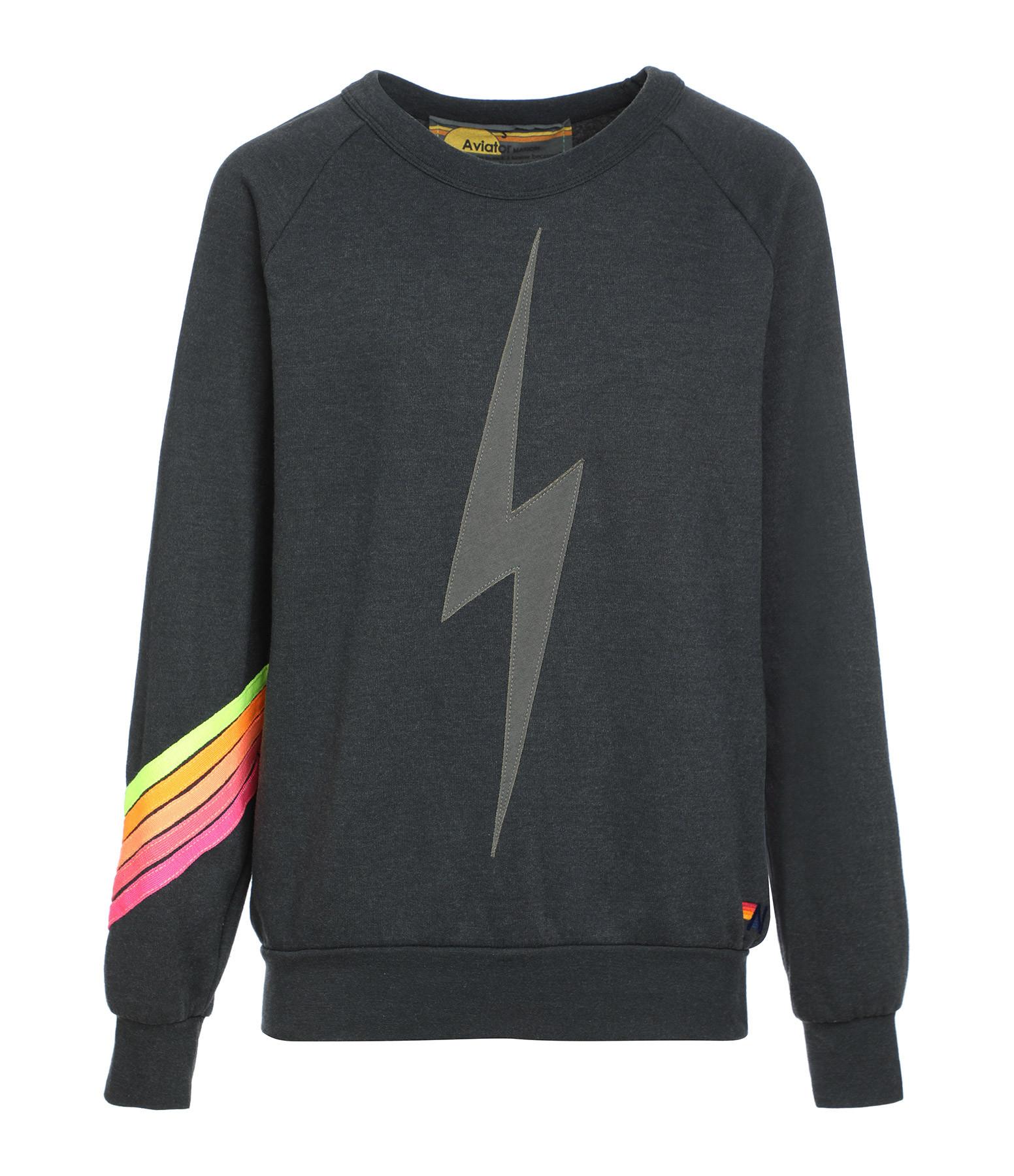 AVIATOR NATION - Sweatshirt Bolt Charbon Néon