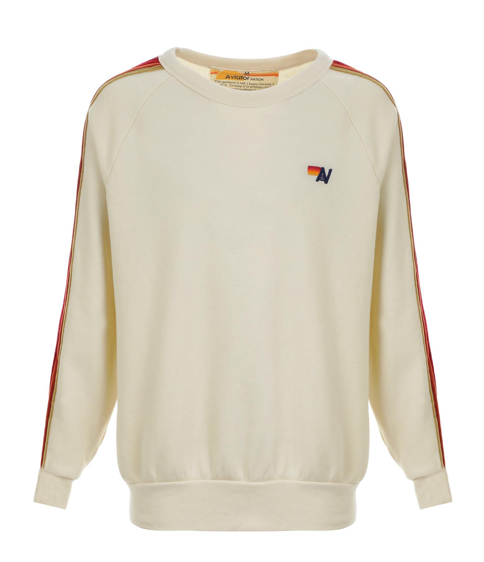 AVIATOR NATION - Sweatshirt Classic Rayures Velours Blanc Vintage