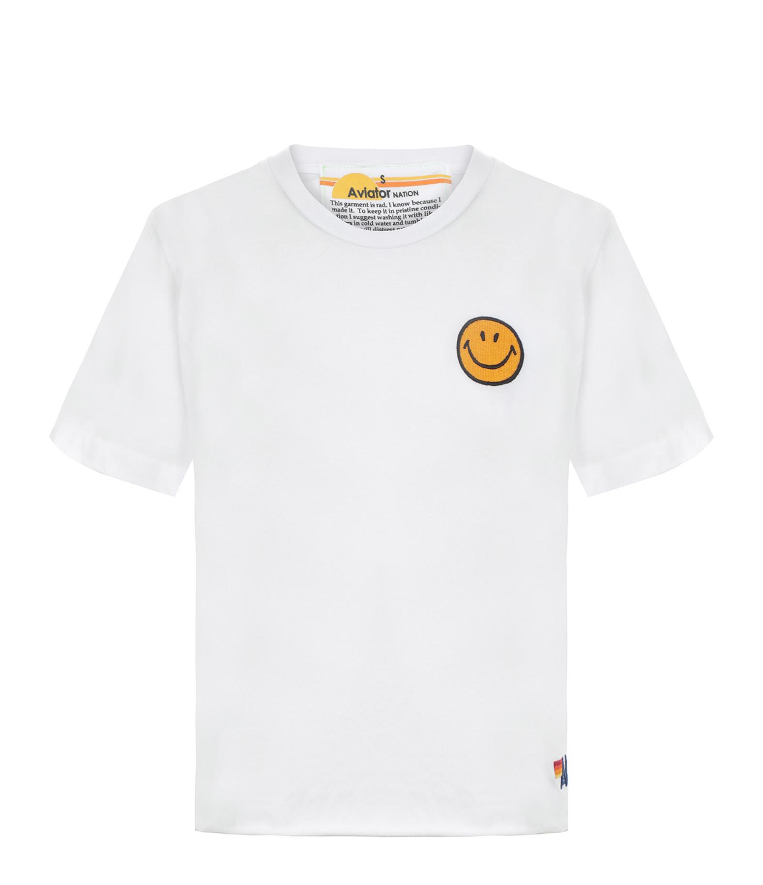 AVIATOR NATION - Tee-shirt Smiley Brodé Blanc