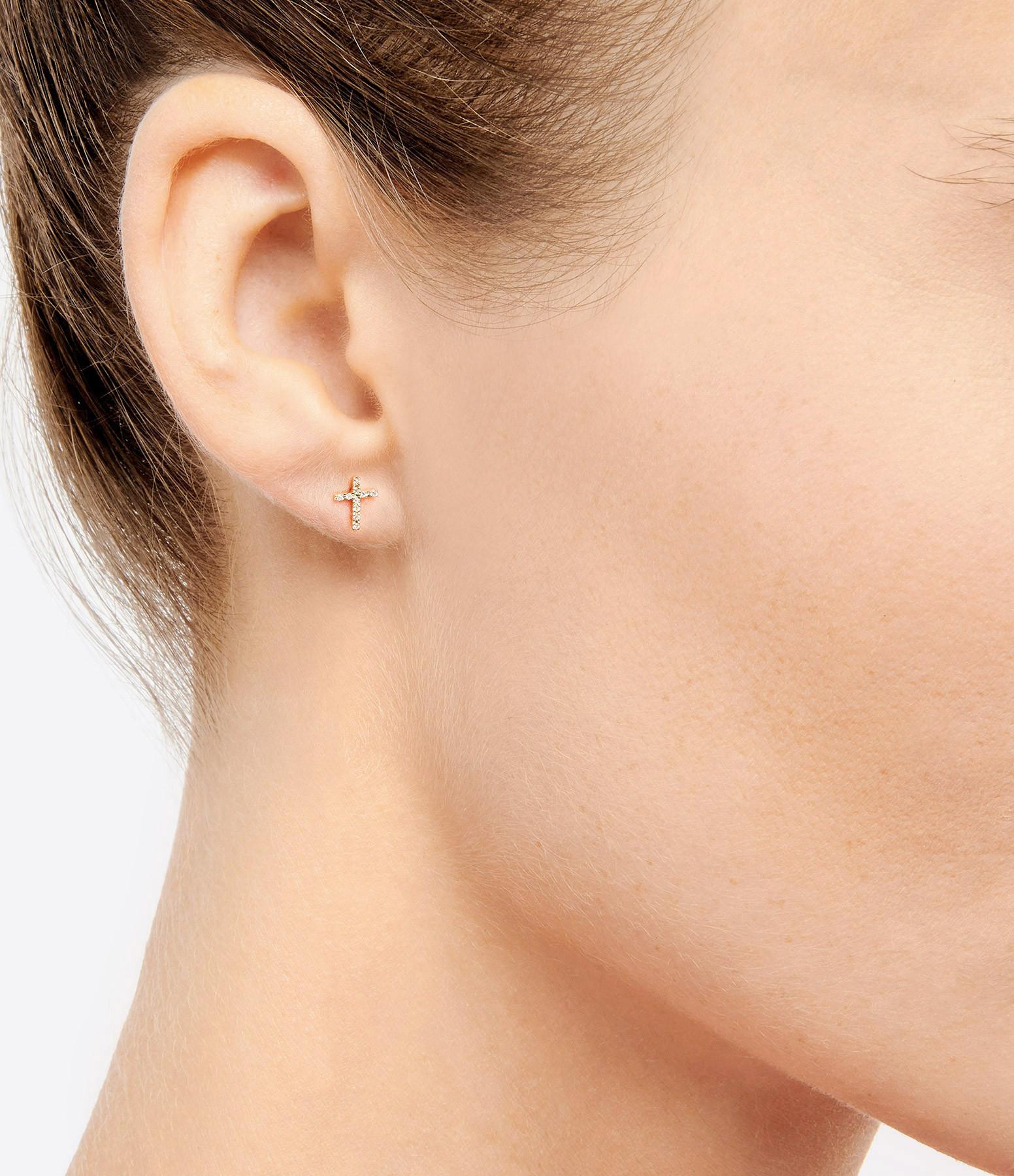 AND...PARIS - Boucle d'oreille Croix Or Diamants (vendue à l'unité)