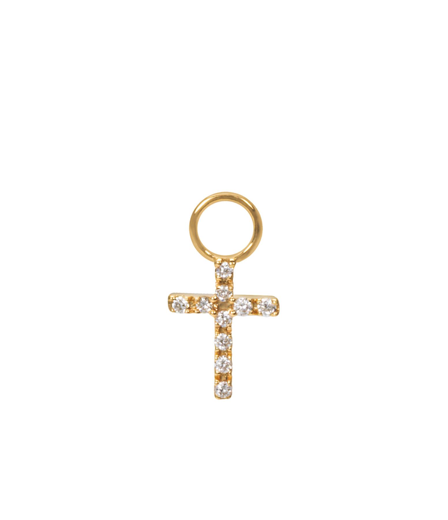 AND...PARIS - Mini Charm Croix Or Diamants