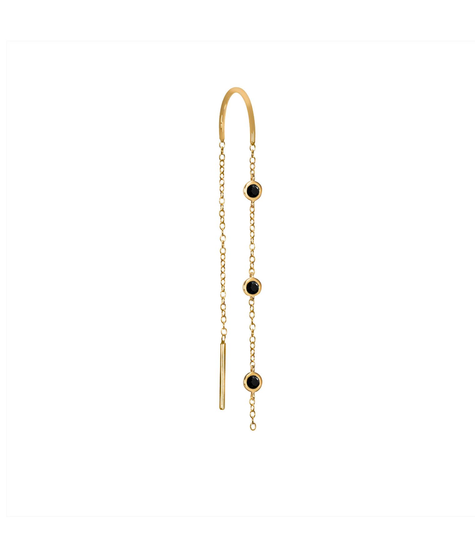 AND...PARIS - Boucle d'oreille Chaîne 3 Mini Drop Diamants Noirs Or (vendue à l'unité)