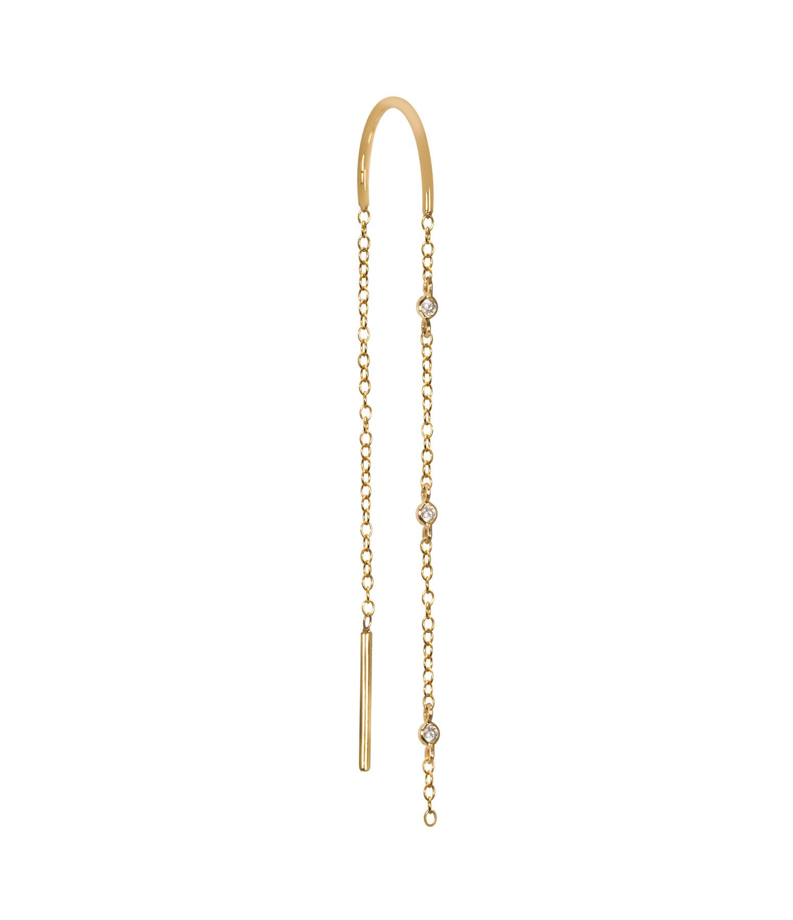 AND...PARIS - Boucle d'oreille Chaîne 3 Mini Drop Diamants Or (vendue à l'unité)