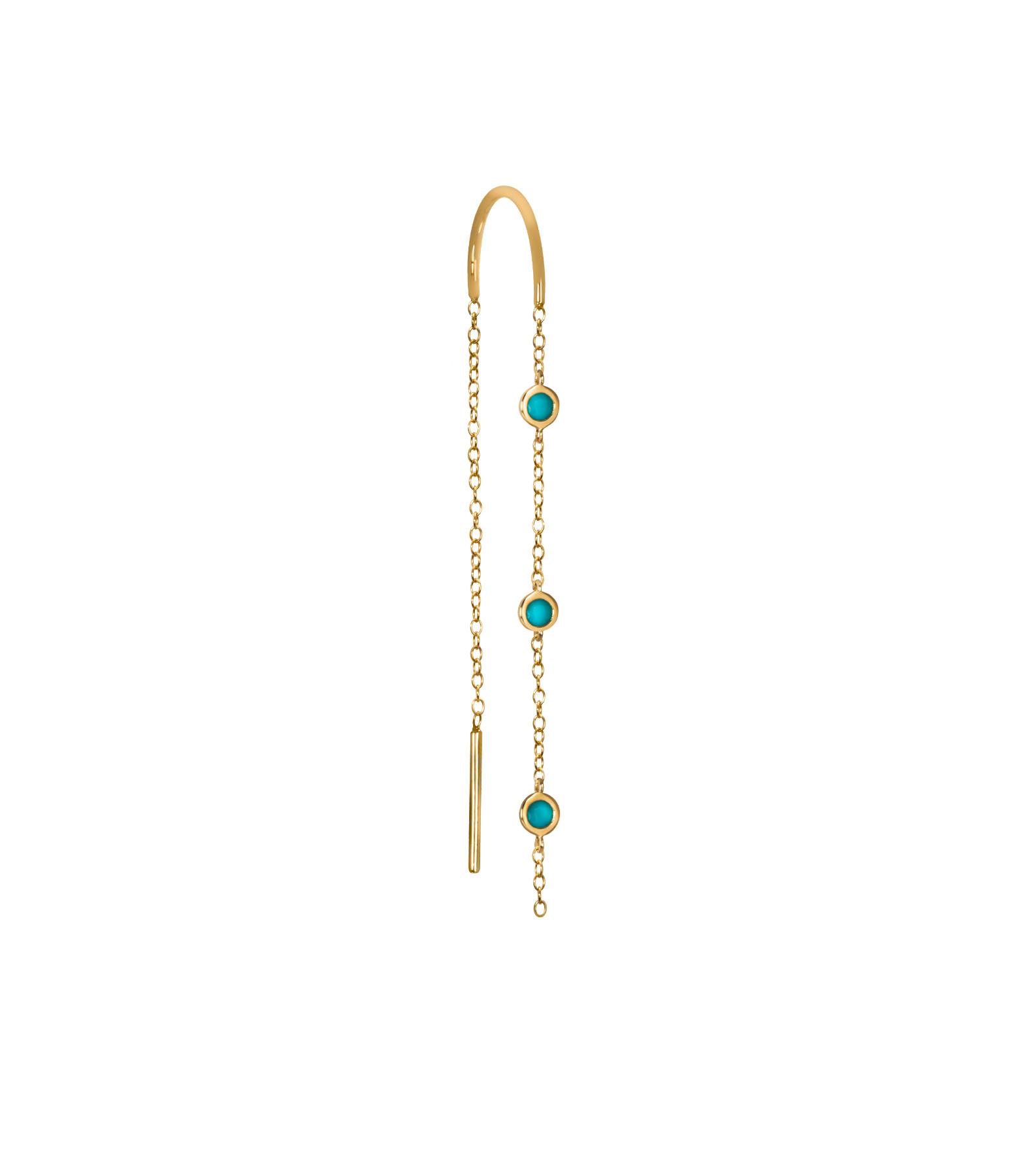 AND...PARIS - Boucle d'oreille Chaîne 3 Drop Turquoises Or (vendue à l'unité)