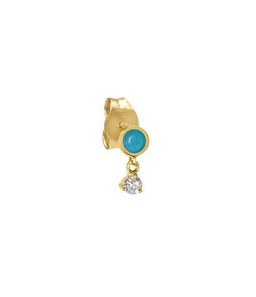 AND...PARIS - Boucle d'oreille Birthstone Turquoise Or (vendue à l'unité), Prospérité