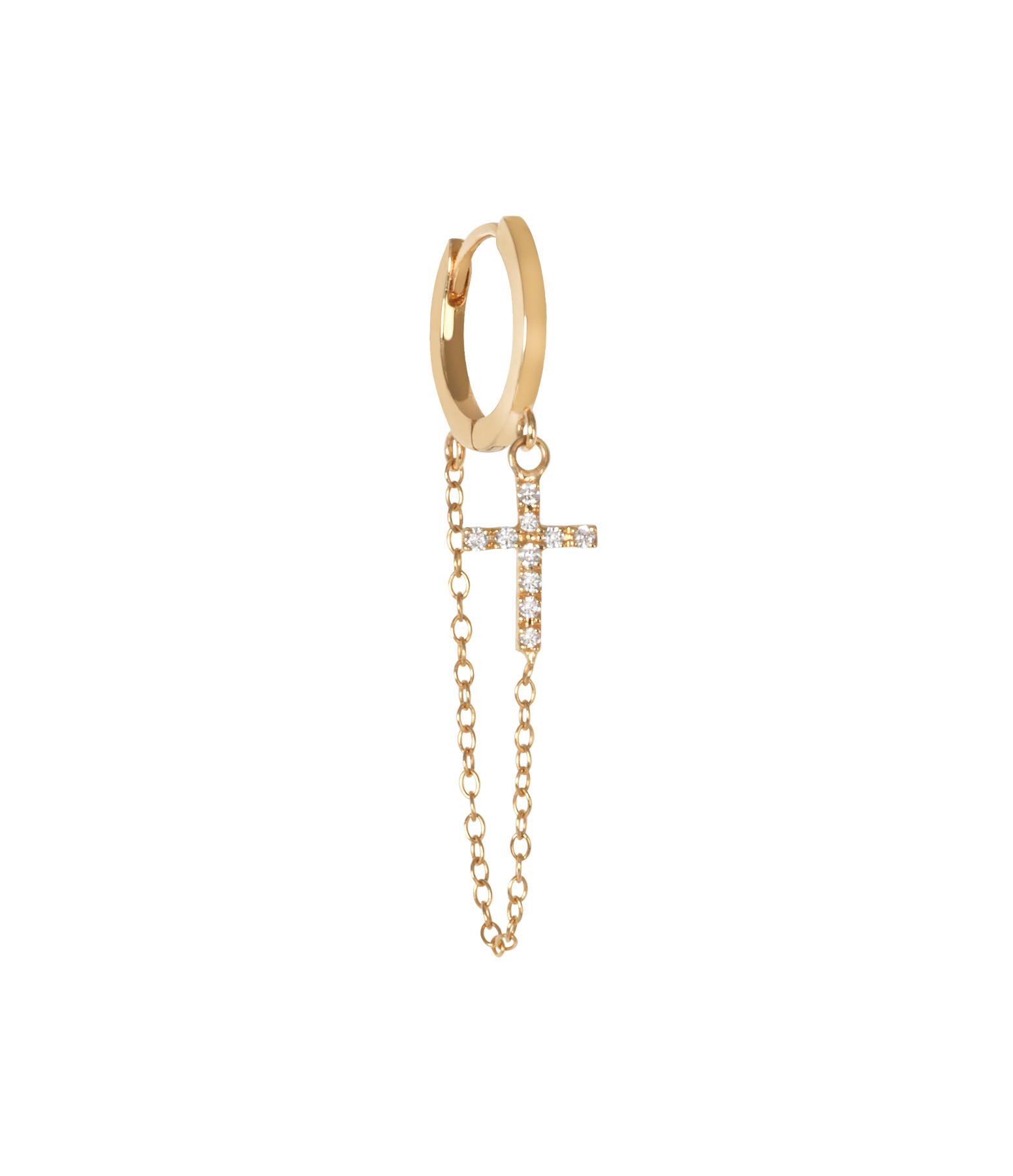 AND...PARIS - Créole Chaîne Croix Or Diamants (vendue à l'unité)