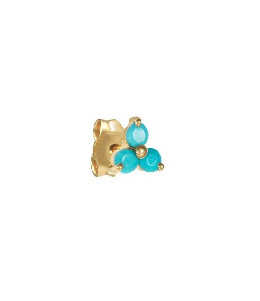 AND...PARIS - Boucle d'oreille Trilogie Fleur 3 Turquoises Or (vendue à l'unité)