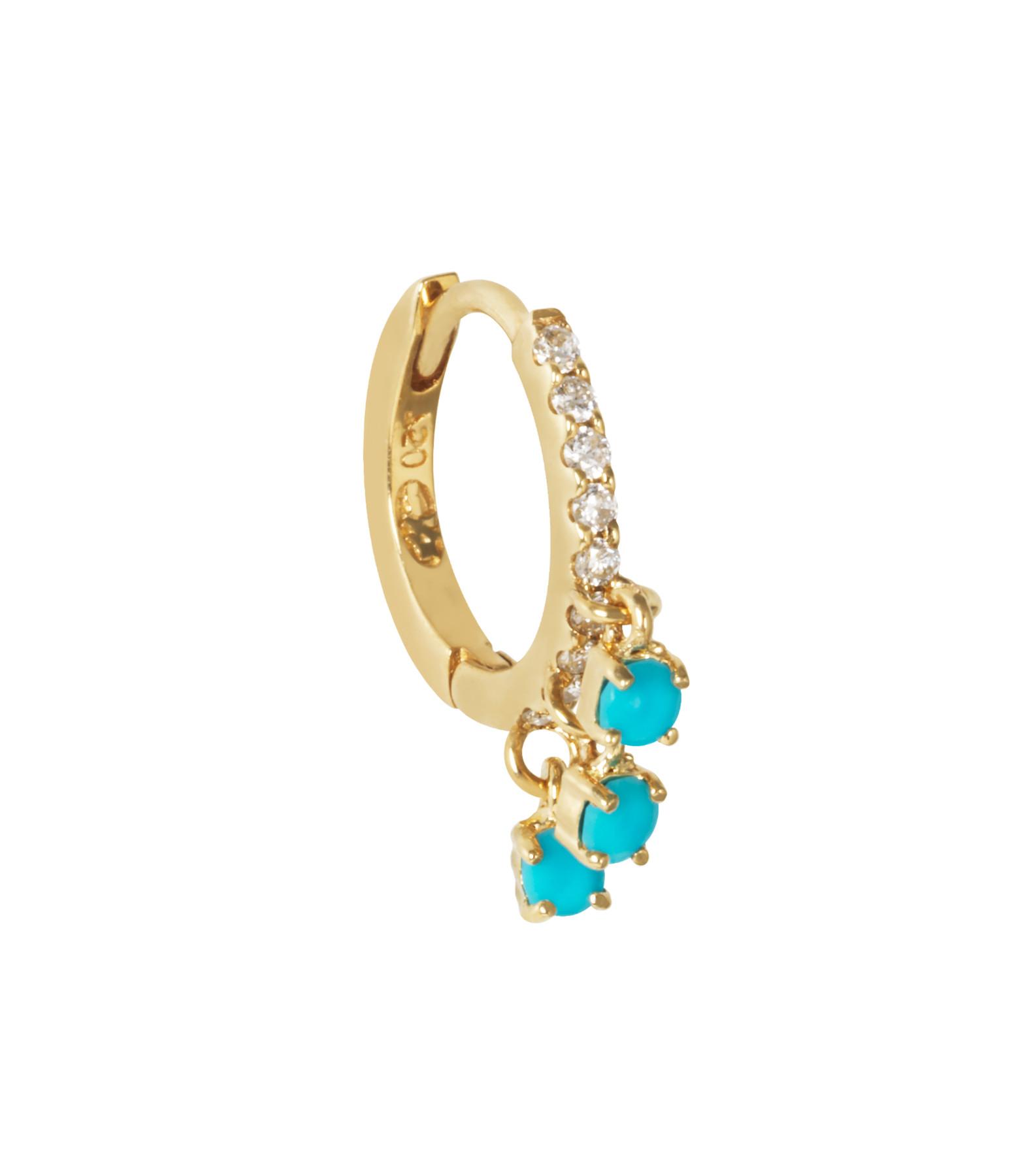AND...PARIS - Créole Pavée Diamants Or 3 Turquoises (vendue à l'unité)