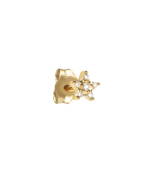 AND...PARIS - Boucle d'oreille Étoile Diamants Or (vendue à l'unité)