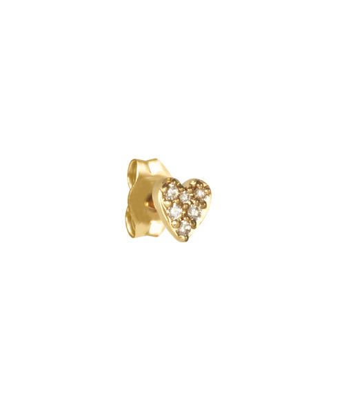 AND...PARIS - Boucle d'oreille CŒur Diamants Or (vendue à l'unité)