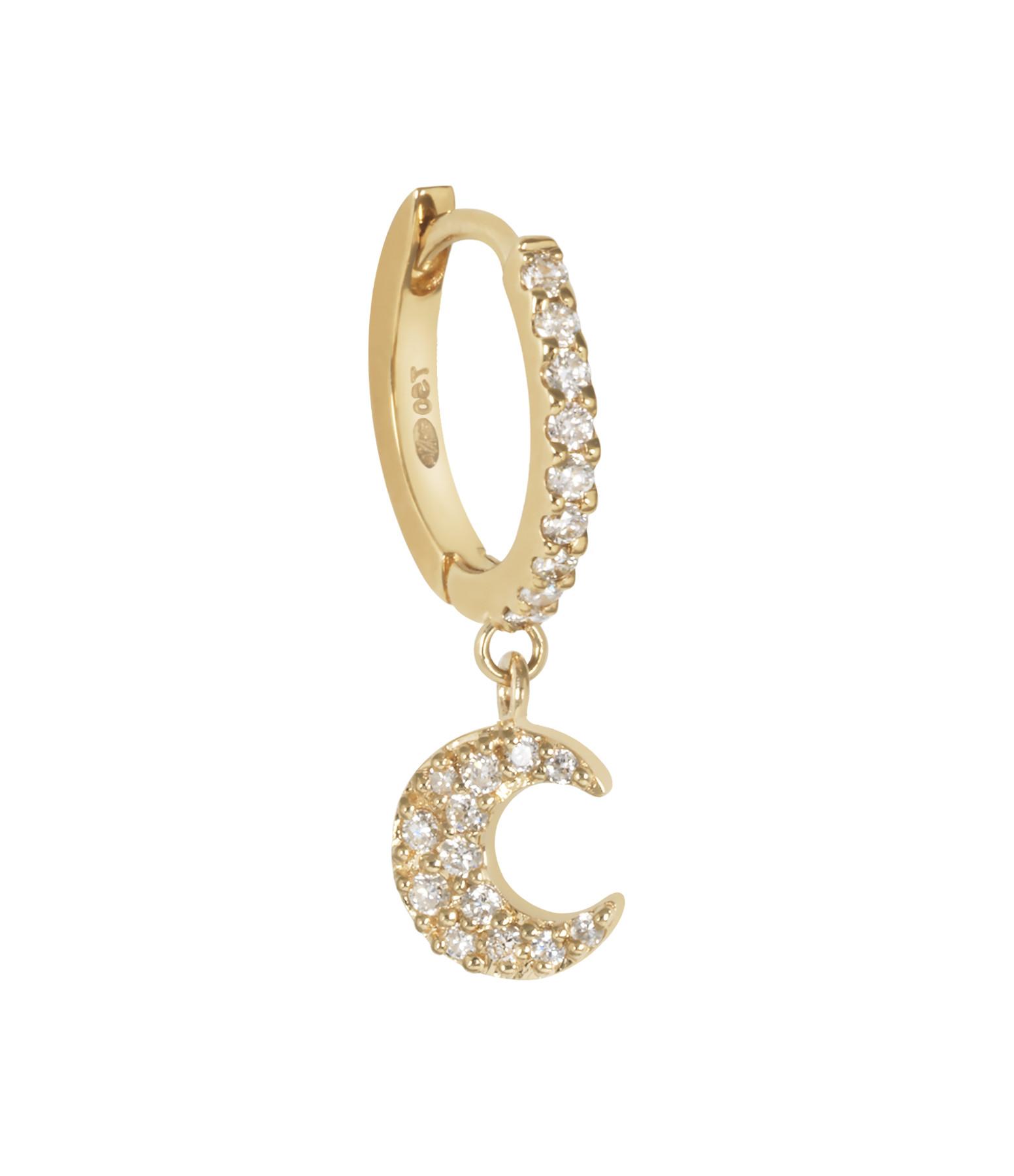 AND...PARIS - Créole Demi Pavée Lune Or Diamants (vendue à l'unité)