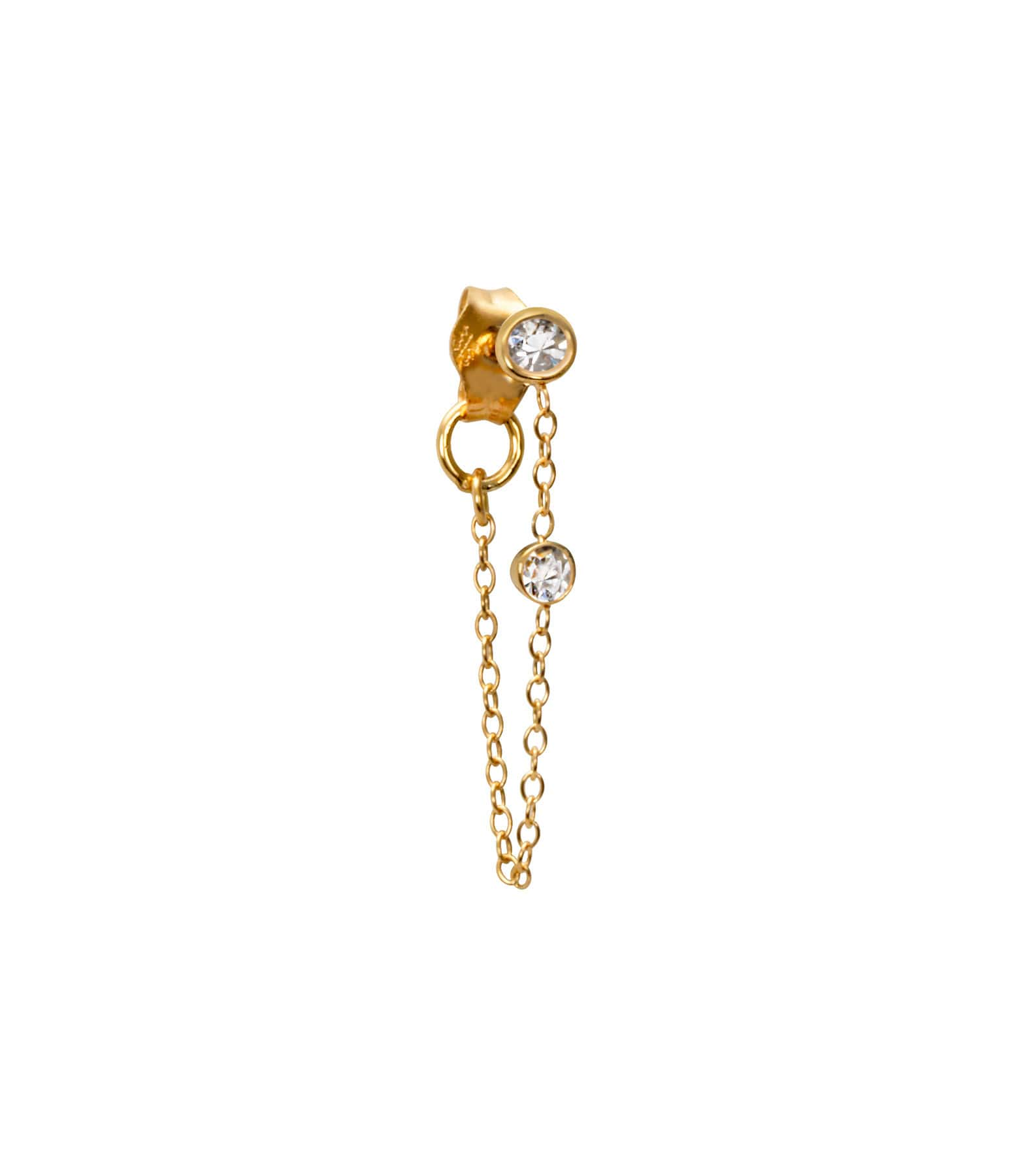 Boucle d'oreille Chaine Forçat Or et Diamants - AND PARIS