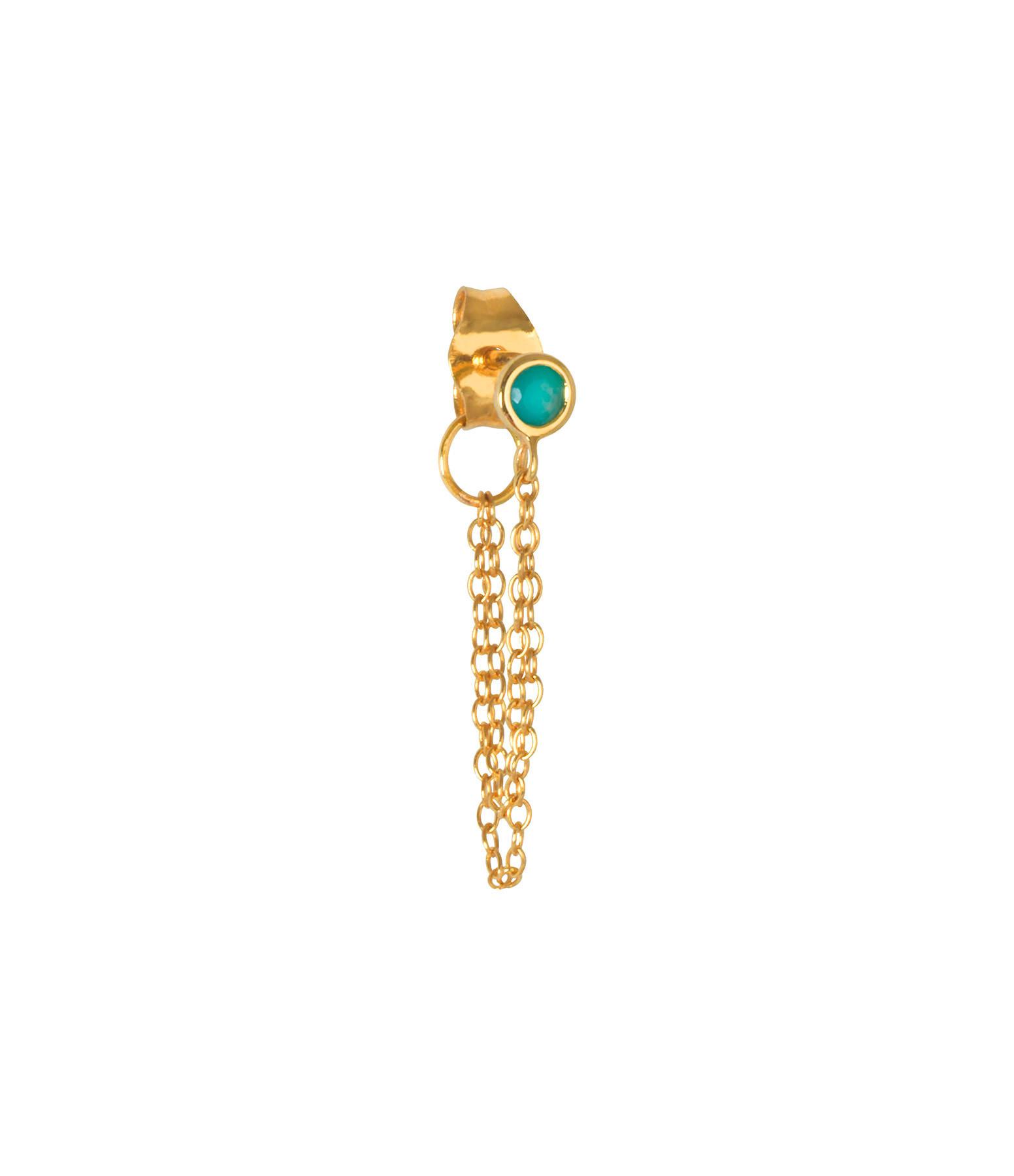 AND...PARIS - Boucle d'oreille Double Chaîne Or Turquoise (vendue à l'unité)