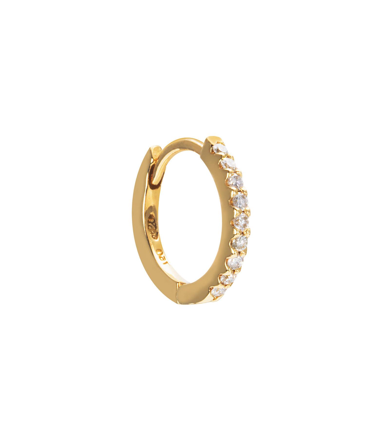 AND...PARIS - Créole Demi-Pavée Or Jaune Diamants (vendue à l'unité)