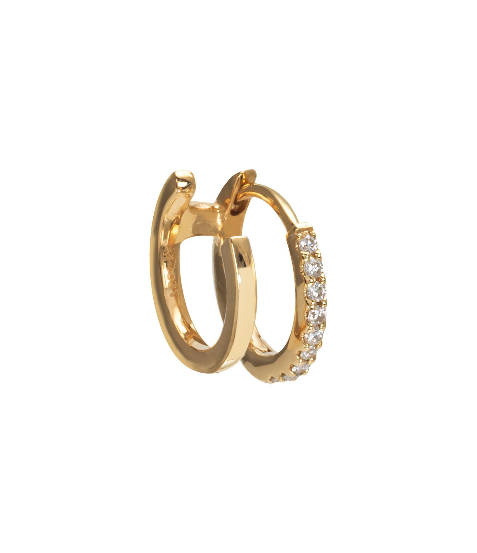 AND...PARIS - Créole Double Demi-Pavée Or Jaune Diamants (vendue à l'unité)