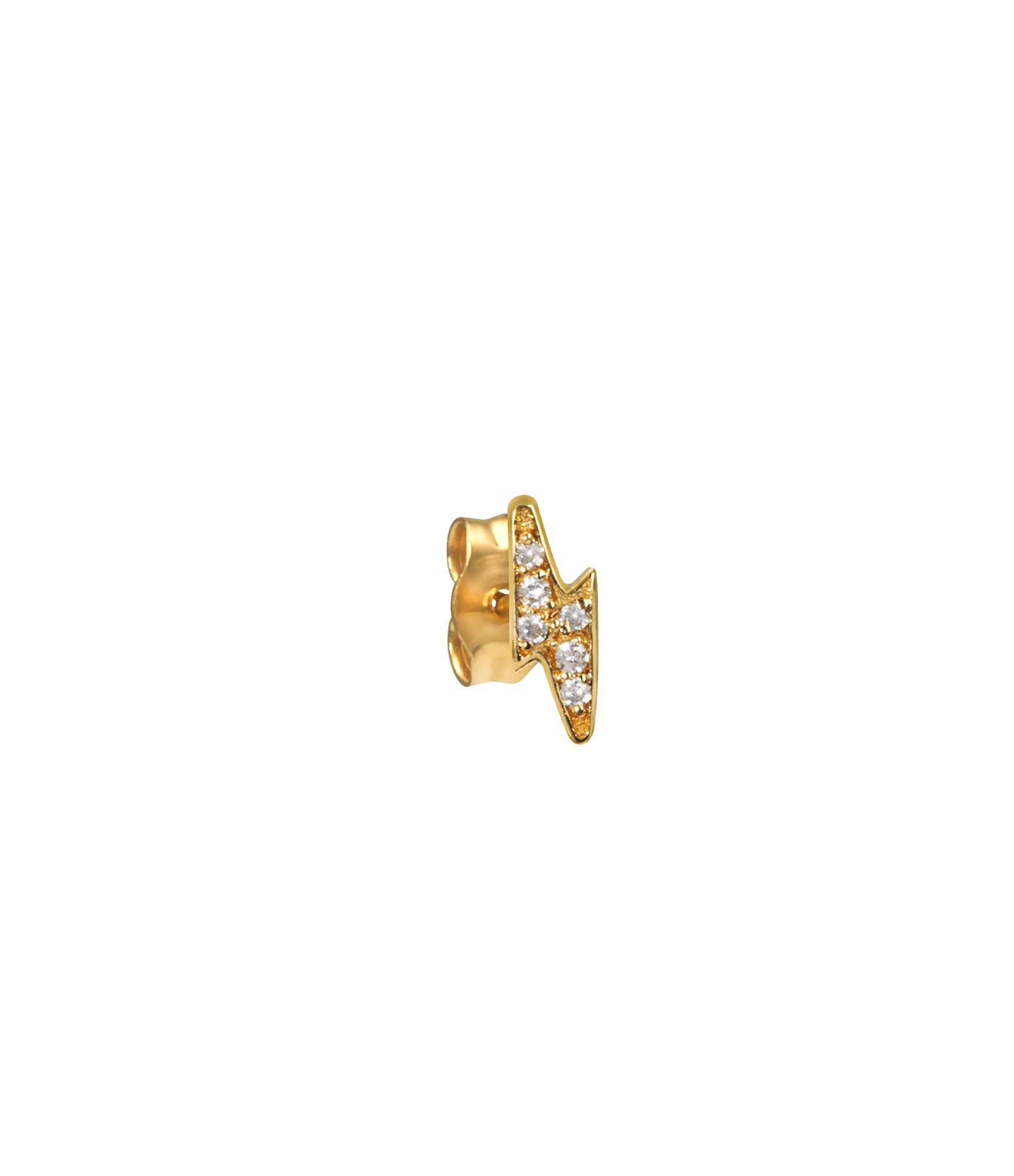 AND...PARIS - Boucle d'oreille Puce Eclair Diamants Or (vendue à l'unité)