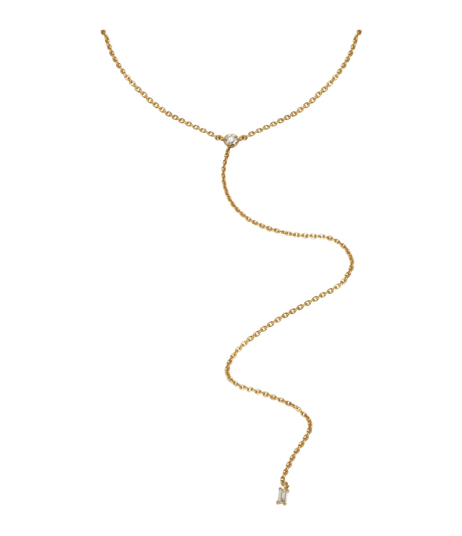 AND...PARIS - Collier Mini Y Baguette Diamants Or