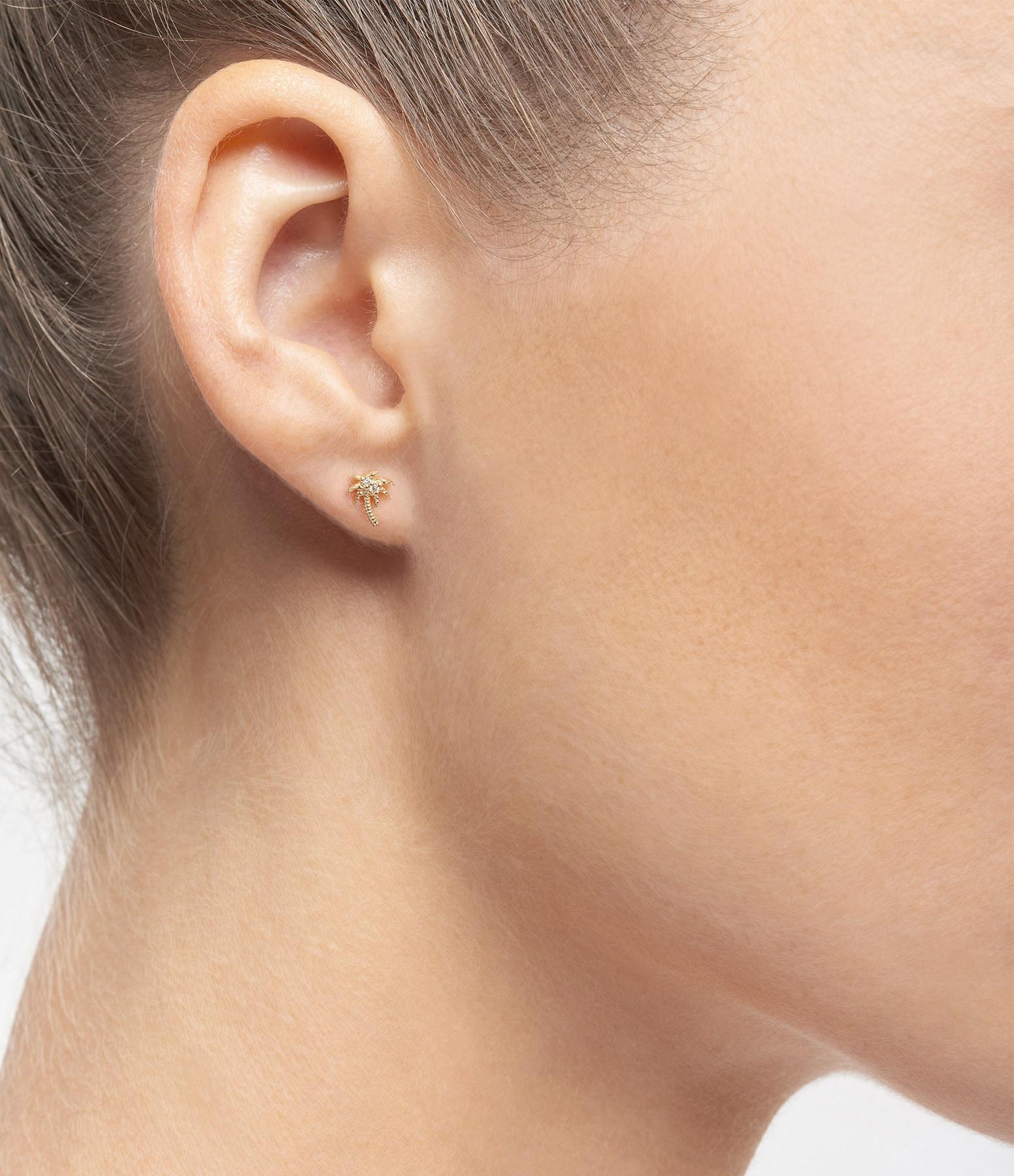 AND...PARIS - Boucle d'oreille Palmier Diamants Or (vendue à l'unité)