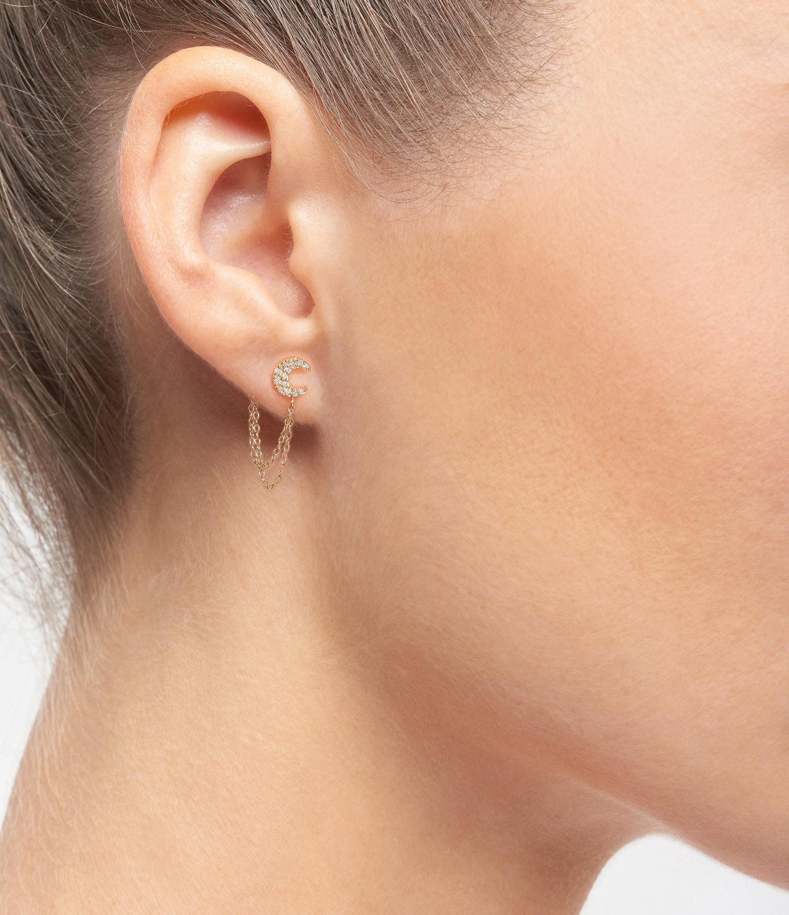 AND...PARIS - Boucle d'oreille Double Chaîne Lune Diamants Or (vendue à l'unité)