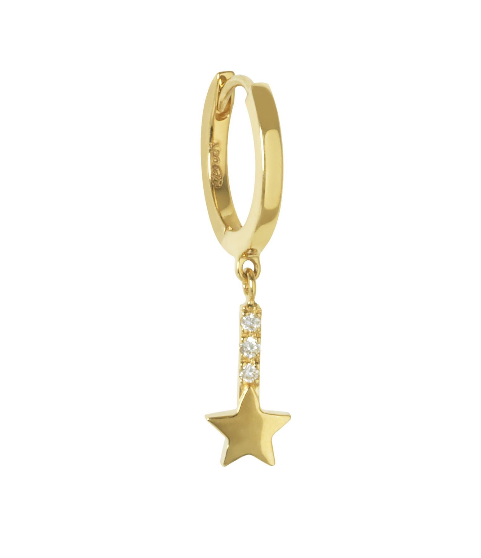 AND...PARIS - Créole Barre Étoile Or Diamants (vendue à l'unité)
