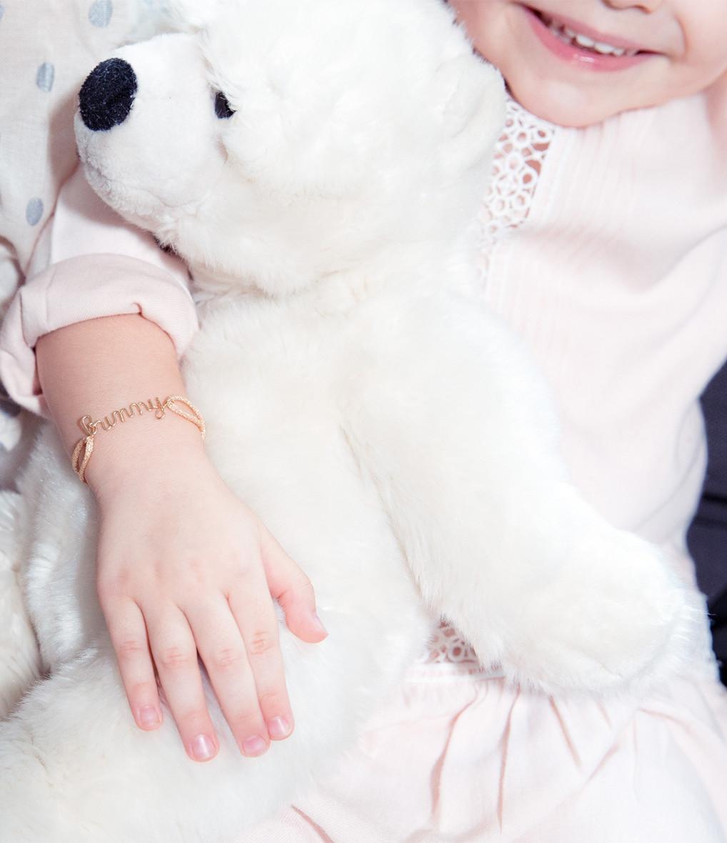 ATELIER PAULIN - Bracelet Cordon Lurex Enfant Amour Gold Filled
