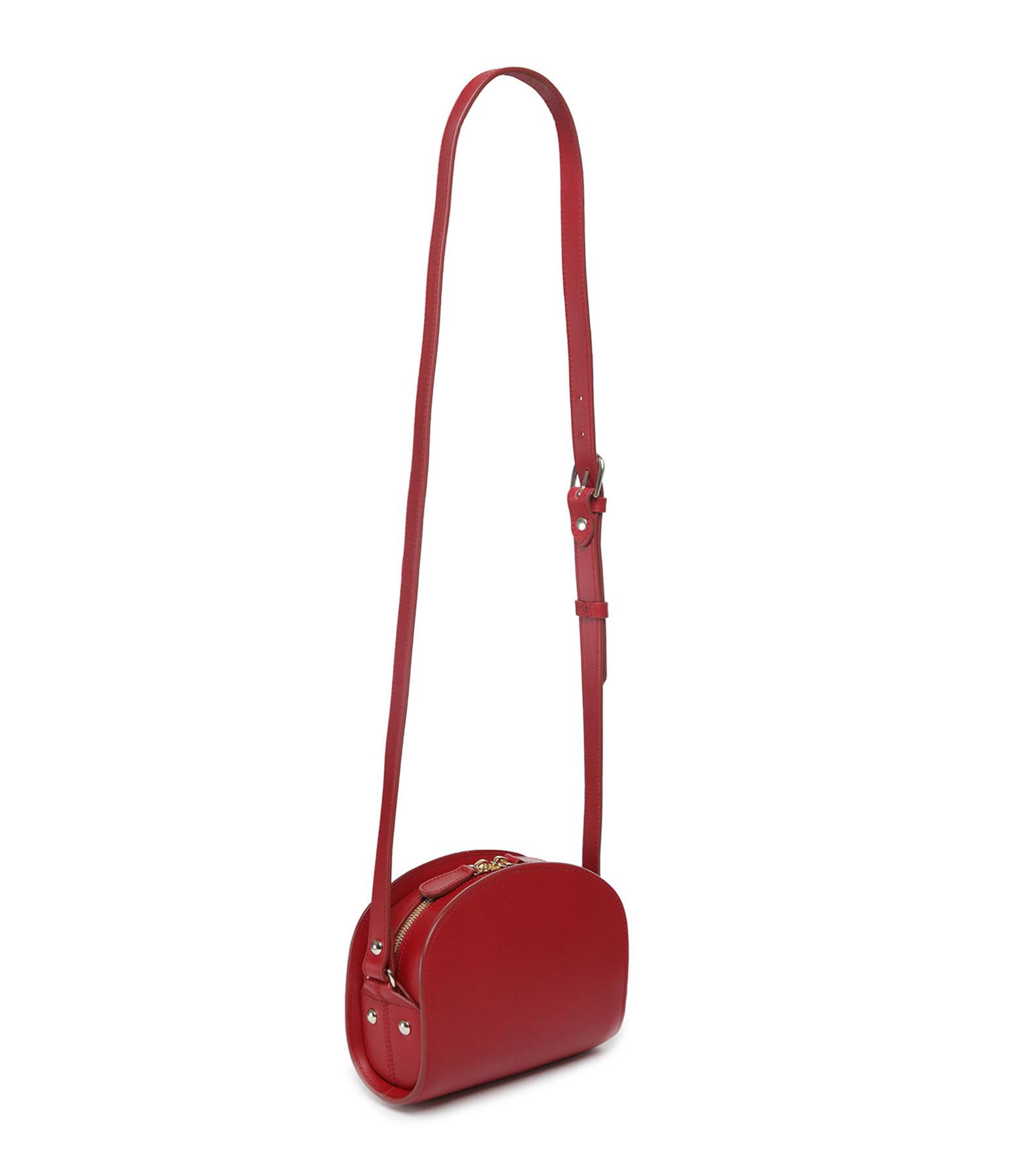 A.P.C. - Sac Demi-Lune Mini Cuir Lisse Rouge Foncé