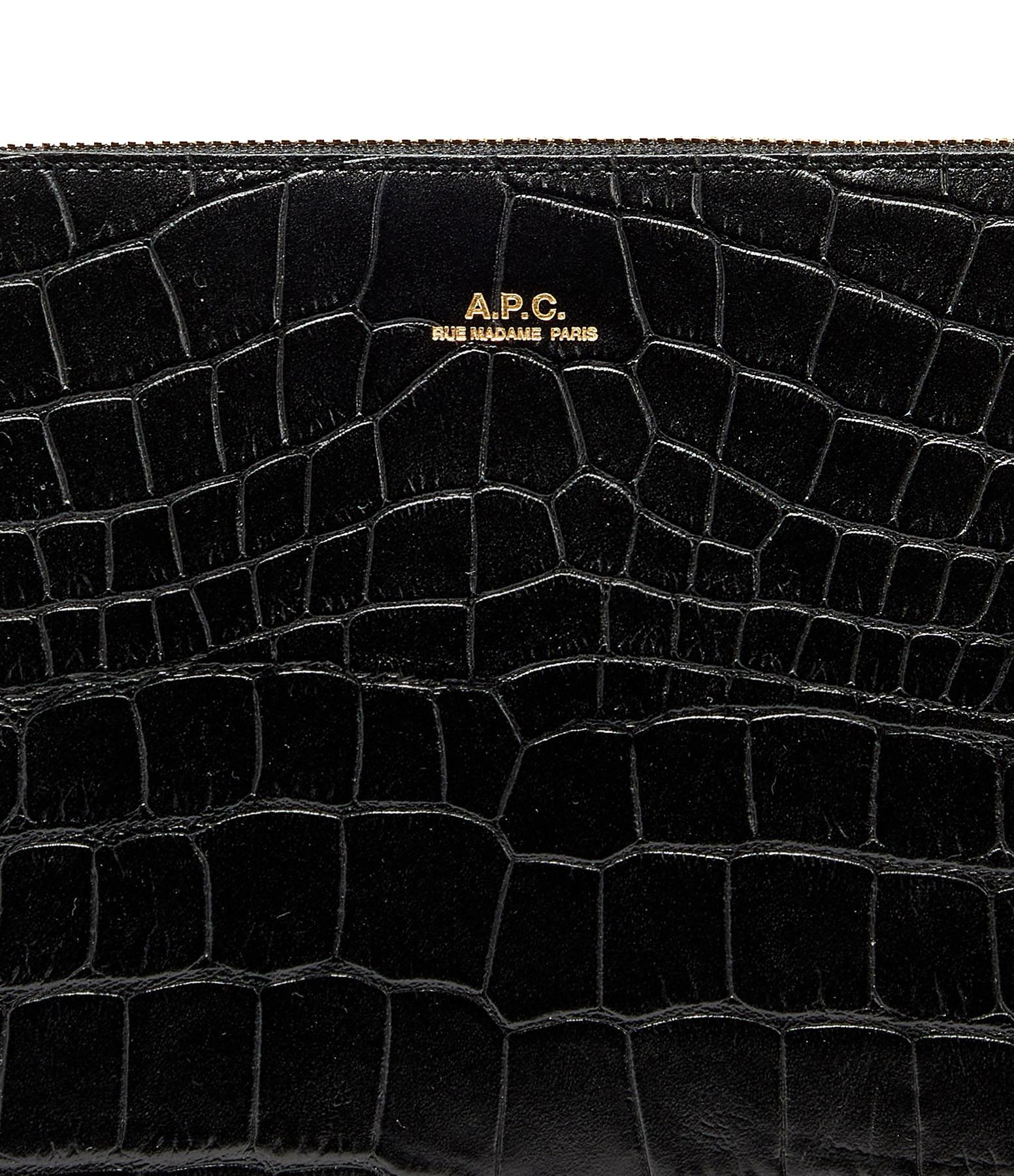 A.P.C. - Pochette Sarah Cuir Embossé Croco Noir