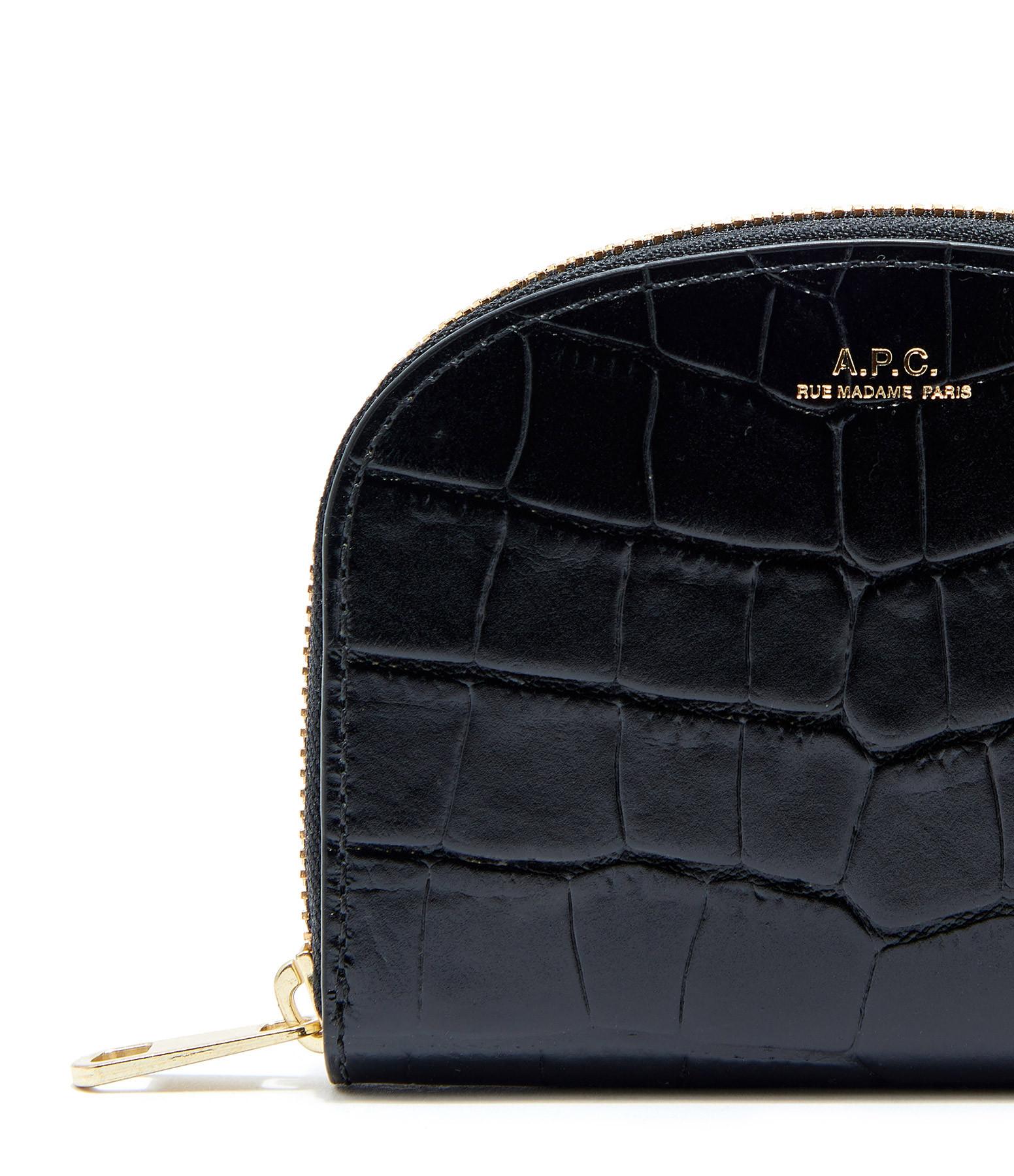 A.P.C. - Sac Compact Demi-Lune Cuir Embossé Croco Noir