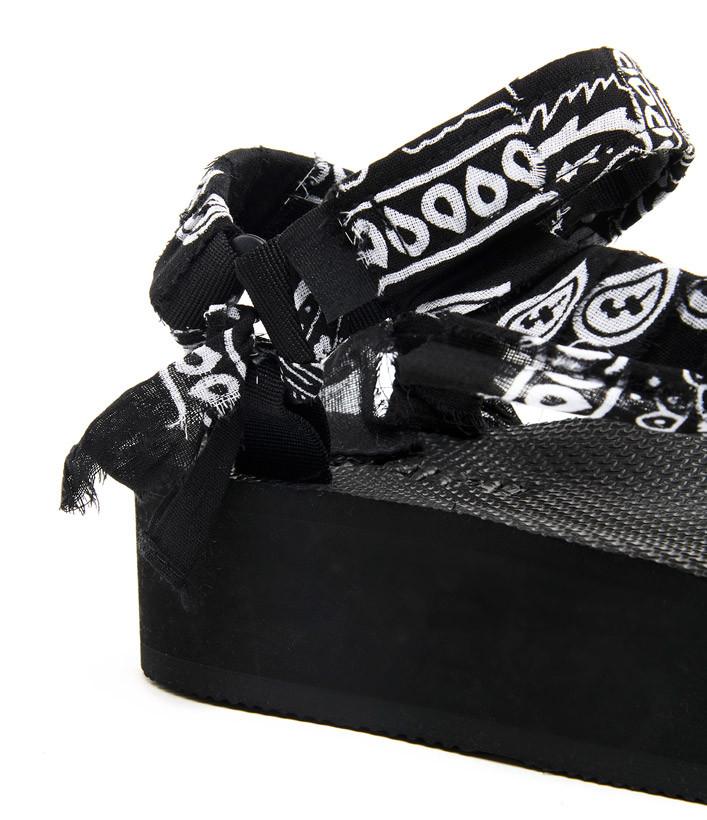 ARIZONA LOVE - Sandales Trekky Plateforme Bandana Noir