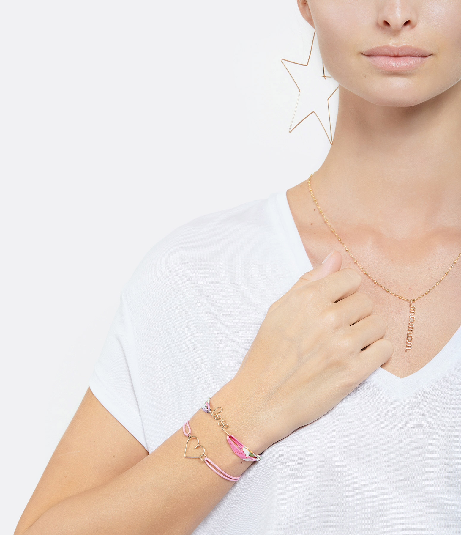 ATELIER PAULIN - Bracelets Duo Love Coeur Gold Filled 14K Fuchsia