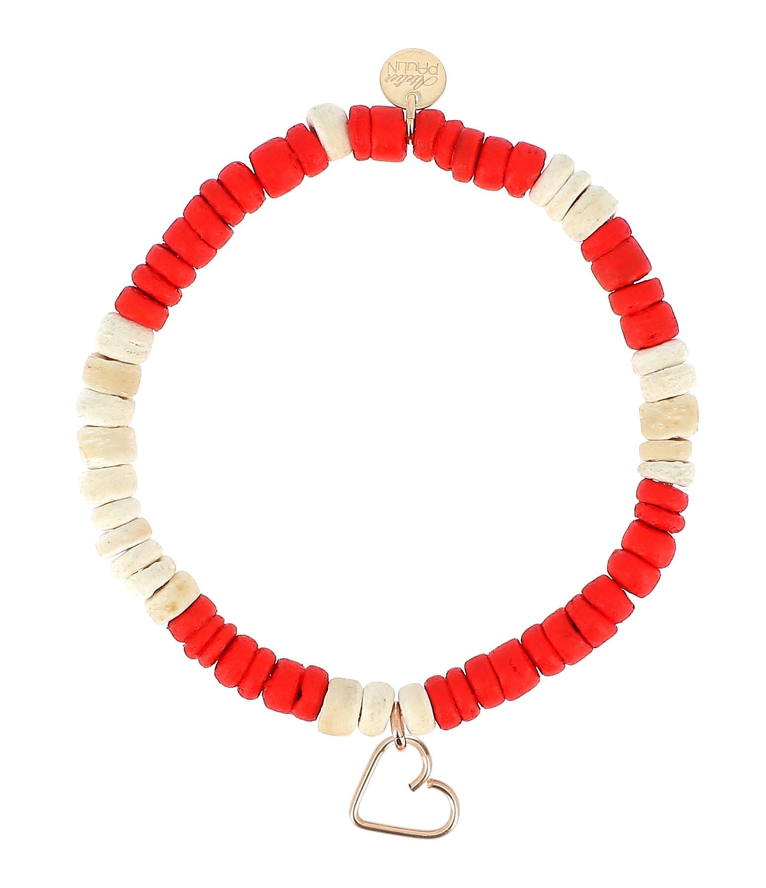 ATELIER PAULIN - Bracelet Talisman Coeur Rouge Écru Gold Filled