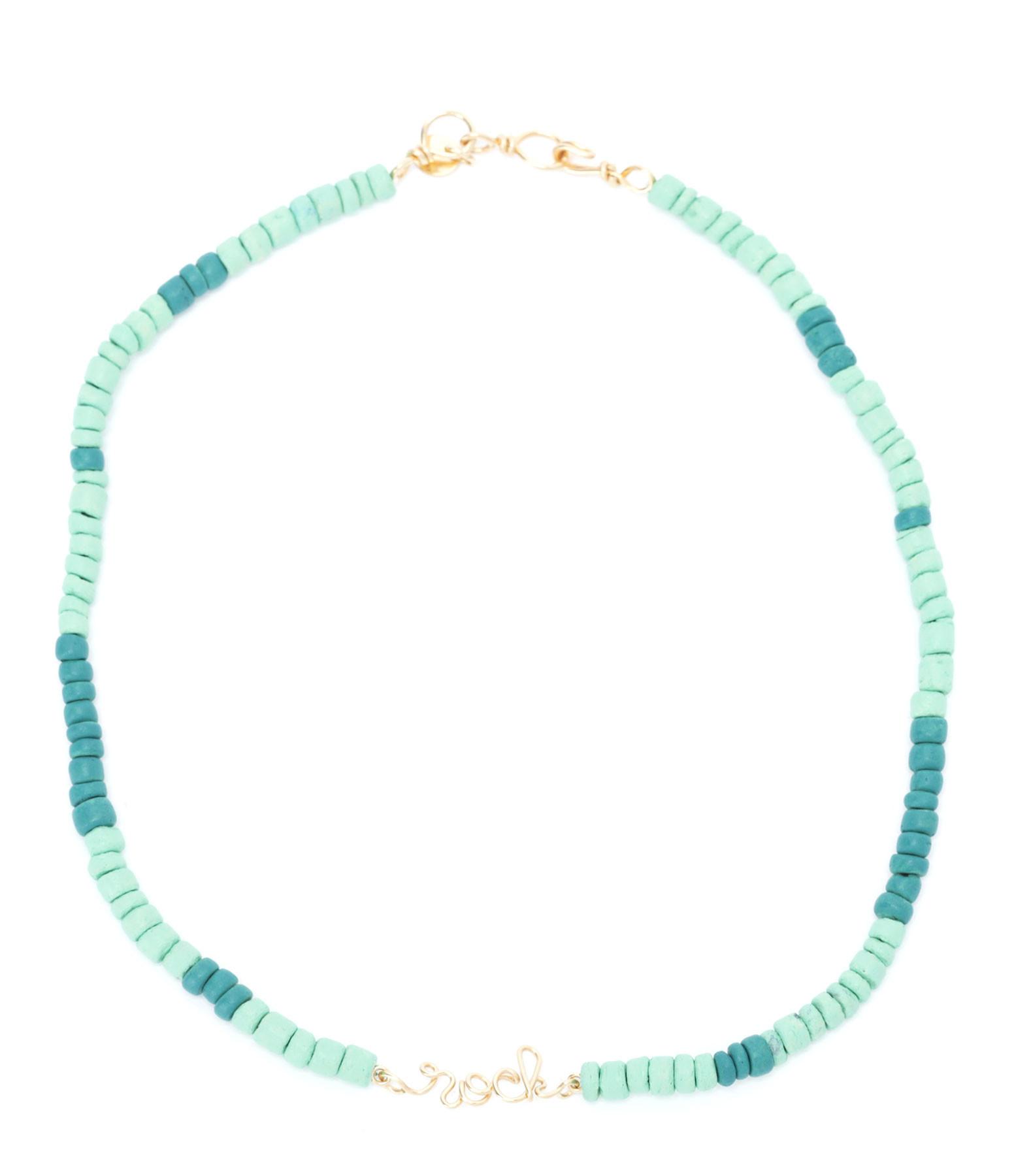 ATELIER PAULIN - Collier Medina Rock Viridien Turquoise Gold Filled, Collection Marrakech
