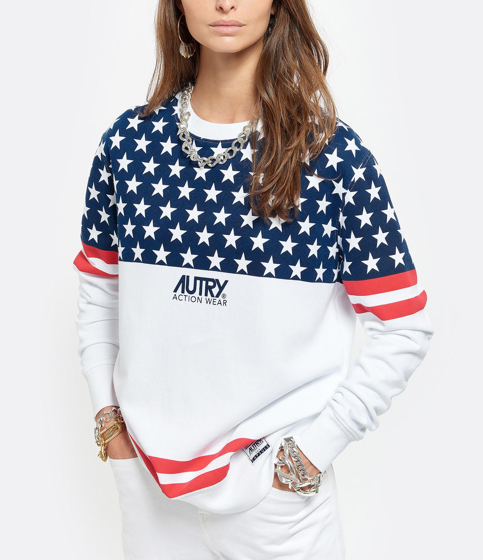 AUTRY - Sweatshirt Star USA Coton Blanc, Capsule