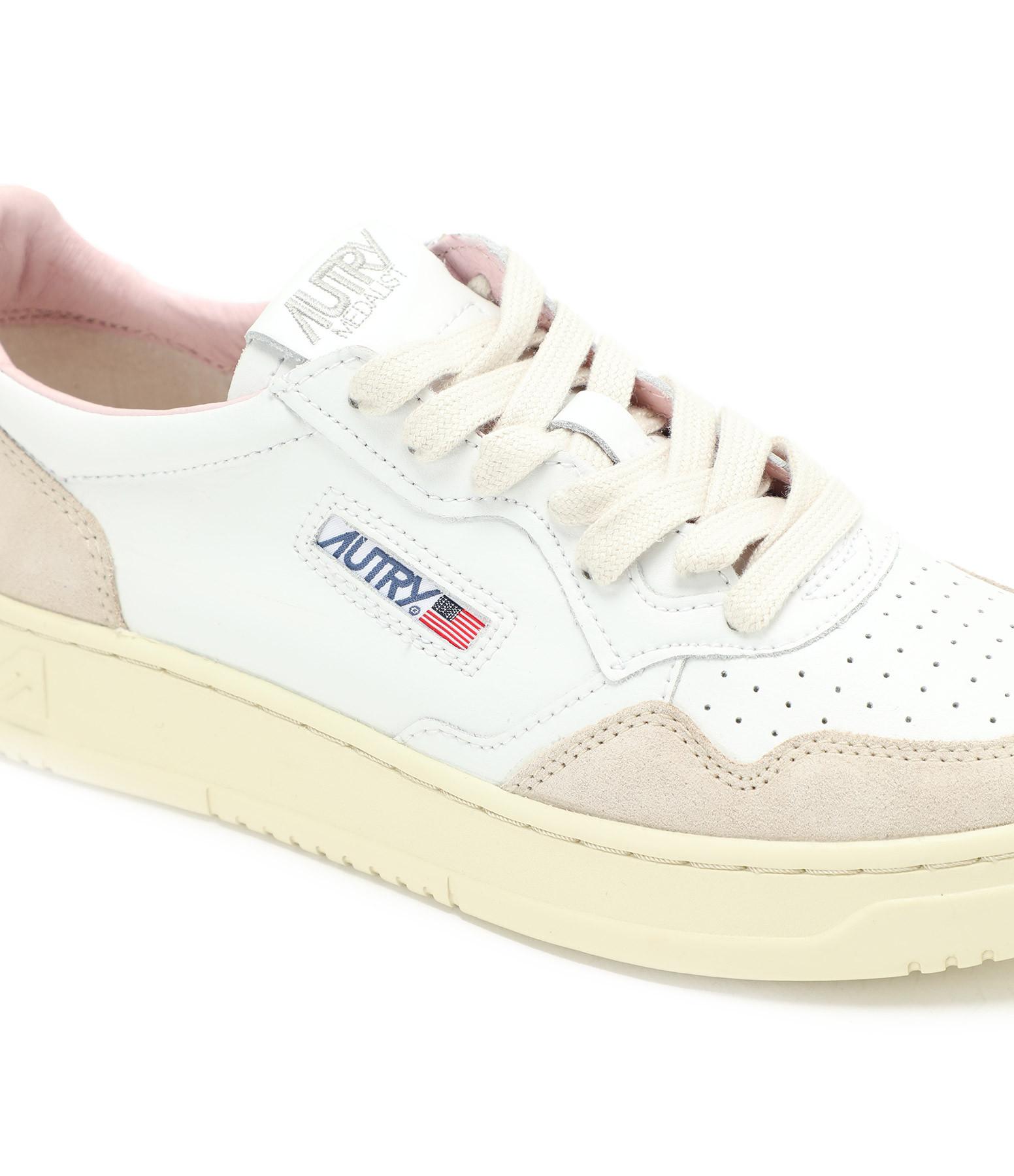 AUTRY - Baskets 01 Low Cuir Suédé Blanc Rose