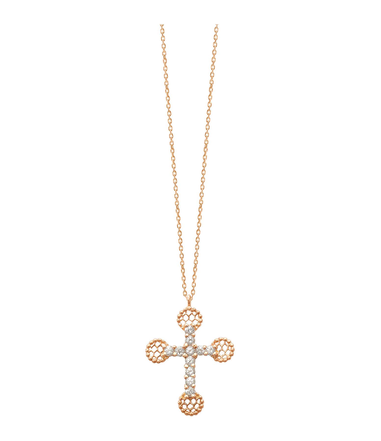 GIGI CLOZEAU - Collier Petite Croix Dentelle Diamants