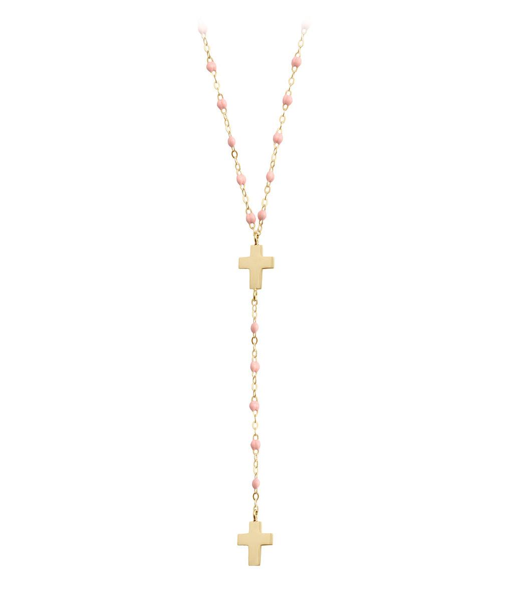 GIGI CLOZEAU - Collier Chapelet Croix Perles Résine Or
