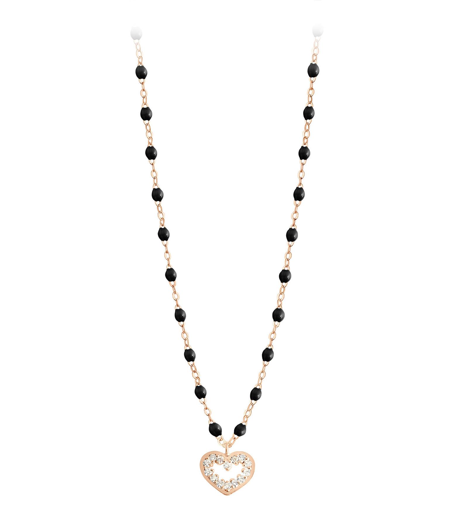 GIGI CLOZEAU - Collier Perles Résine Lucky Cœur Suprême Diamants Or Rose