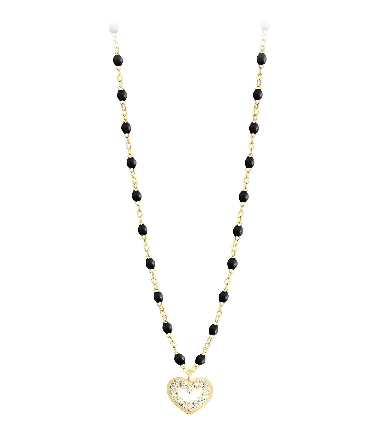 GIGI CLOZEAU - Collier Perles Résine Lucky Cœur Suprême Diamants Or Jaune