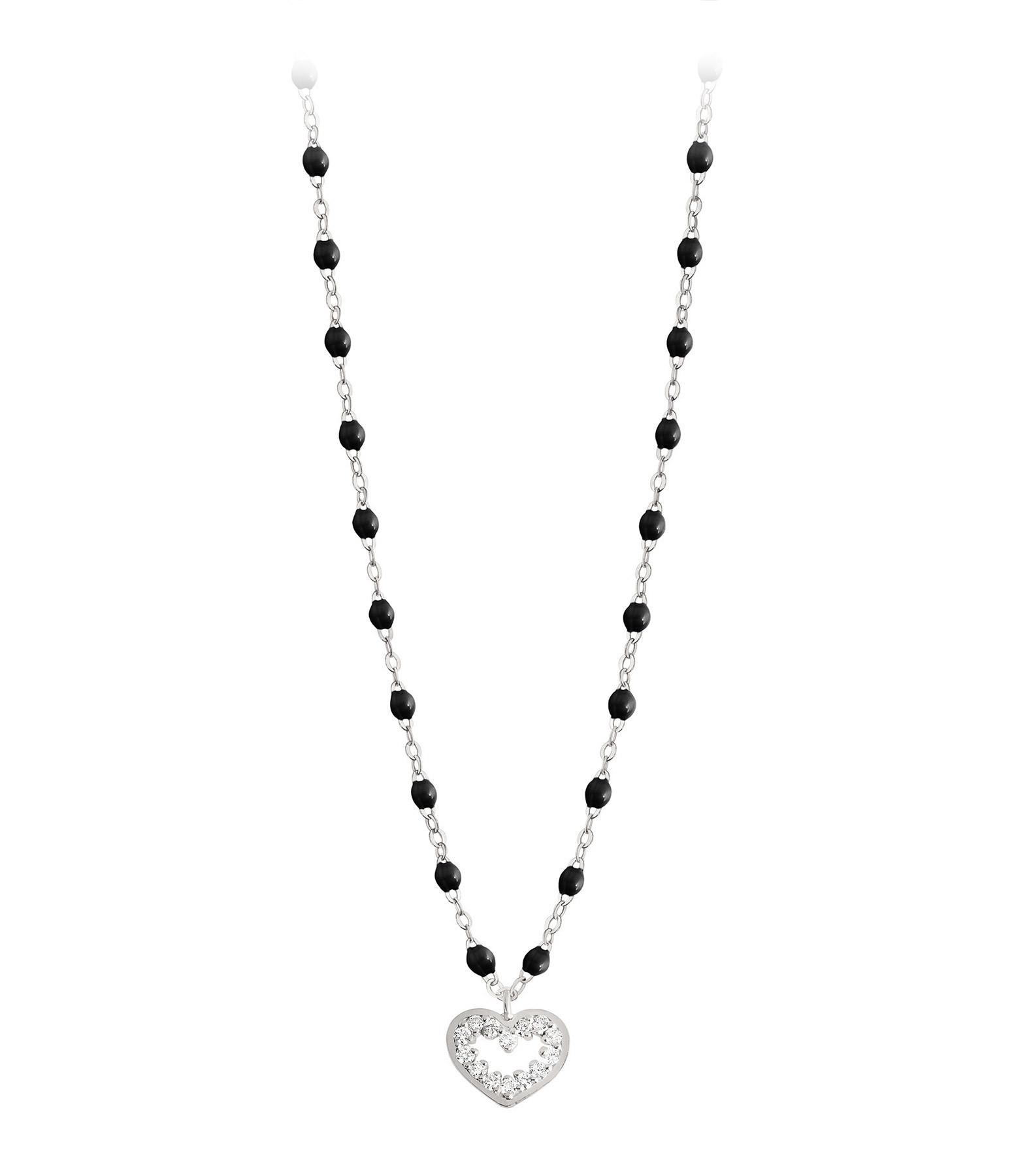 GIGI CLOZEAU - Collier Perles Résine Lucky Cœur Suprême Diamants Or Gris