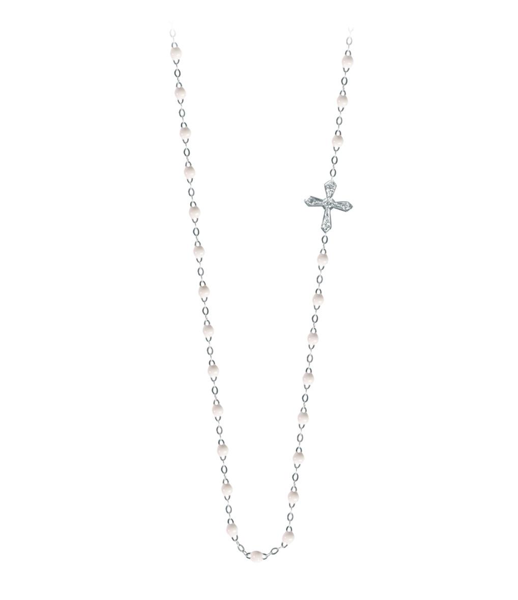 Collier Croix Diamants Décalée Résine - GIGI CLOZEAU