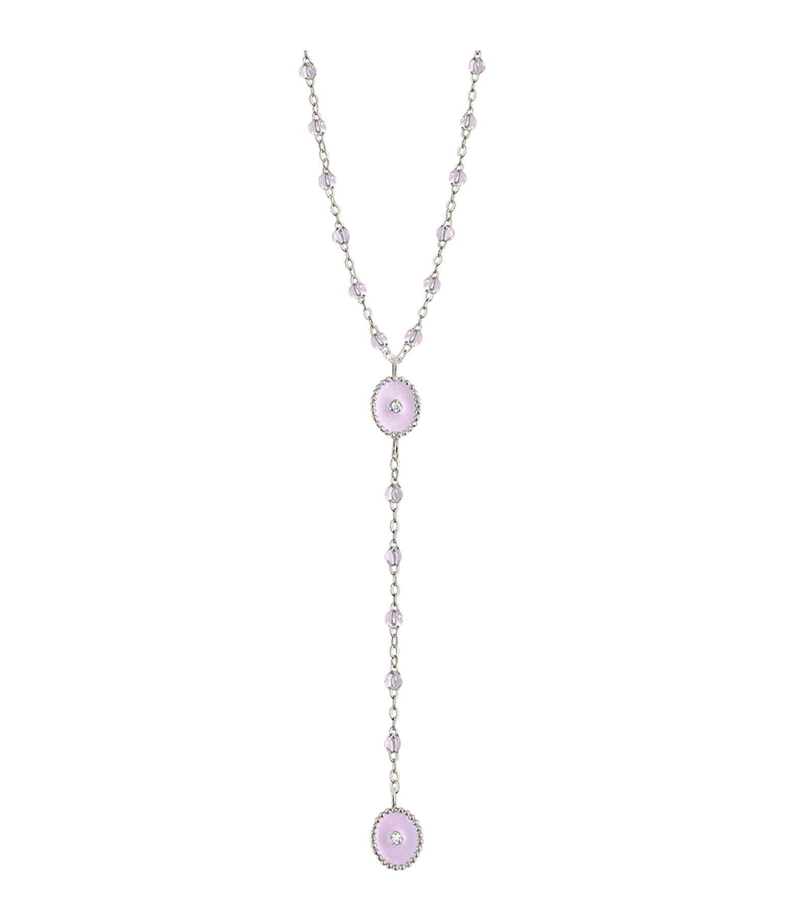 GIGI CLOZEAU - Collier Chapelet Etoile Nord Perles Résine Transparentes Or Diamants