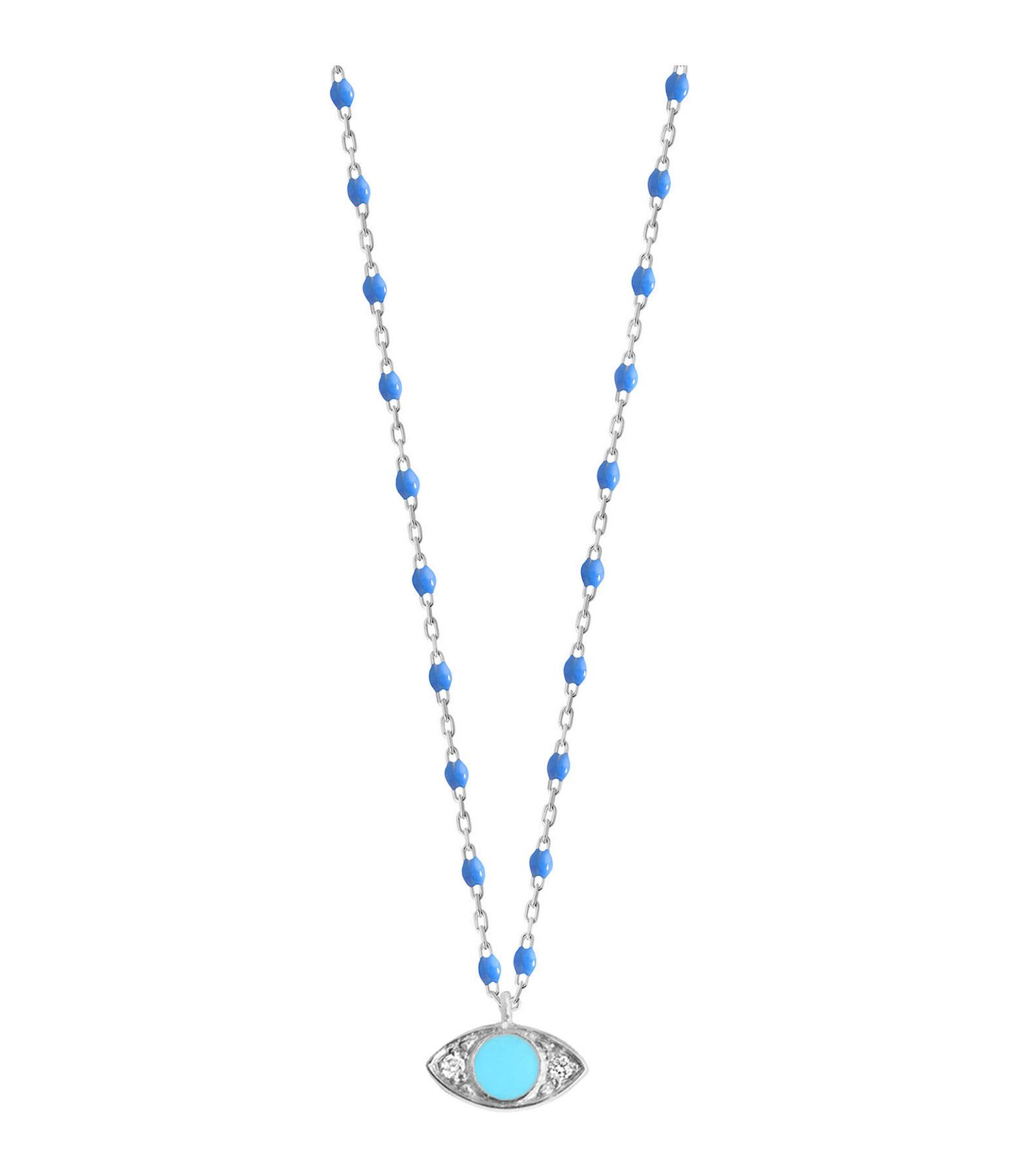 GIGI CLOZEAU - Collier Voyage Oeil Résine Diams Bleuet turquoise